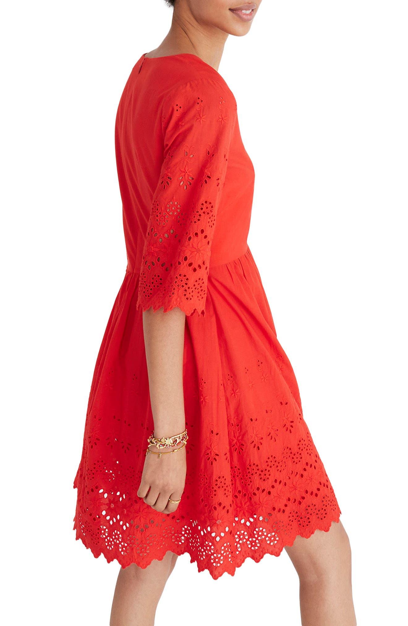 Eyelet Lattice Dress,                             Alternate thumbnail 3, color,                             Bright Poppy