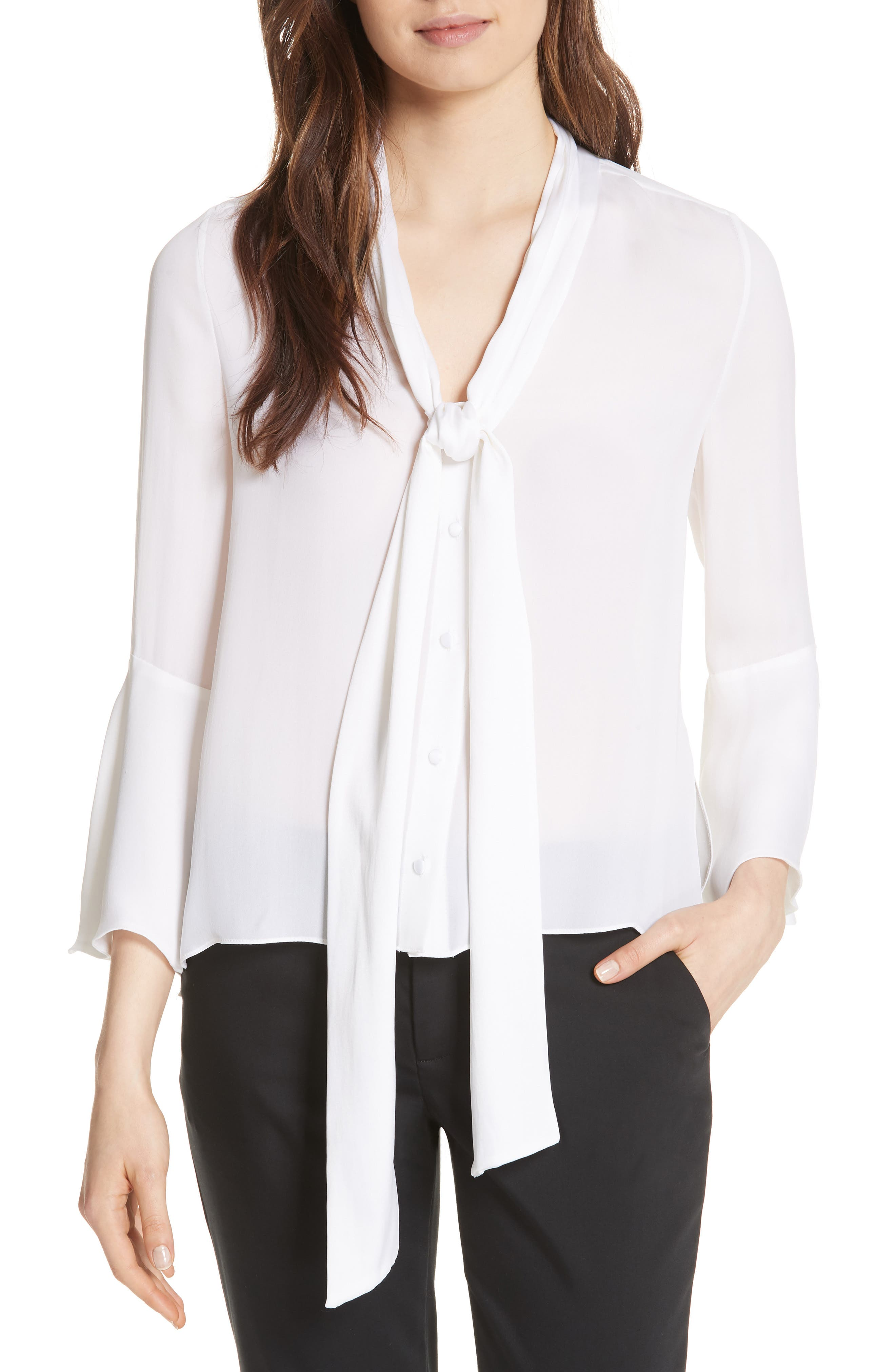 Meredith Tie Neck Silk Blouse,                             Main thumbnail 1, color,                             White