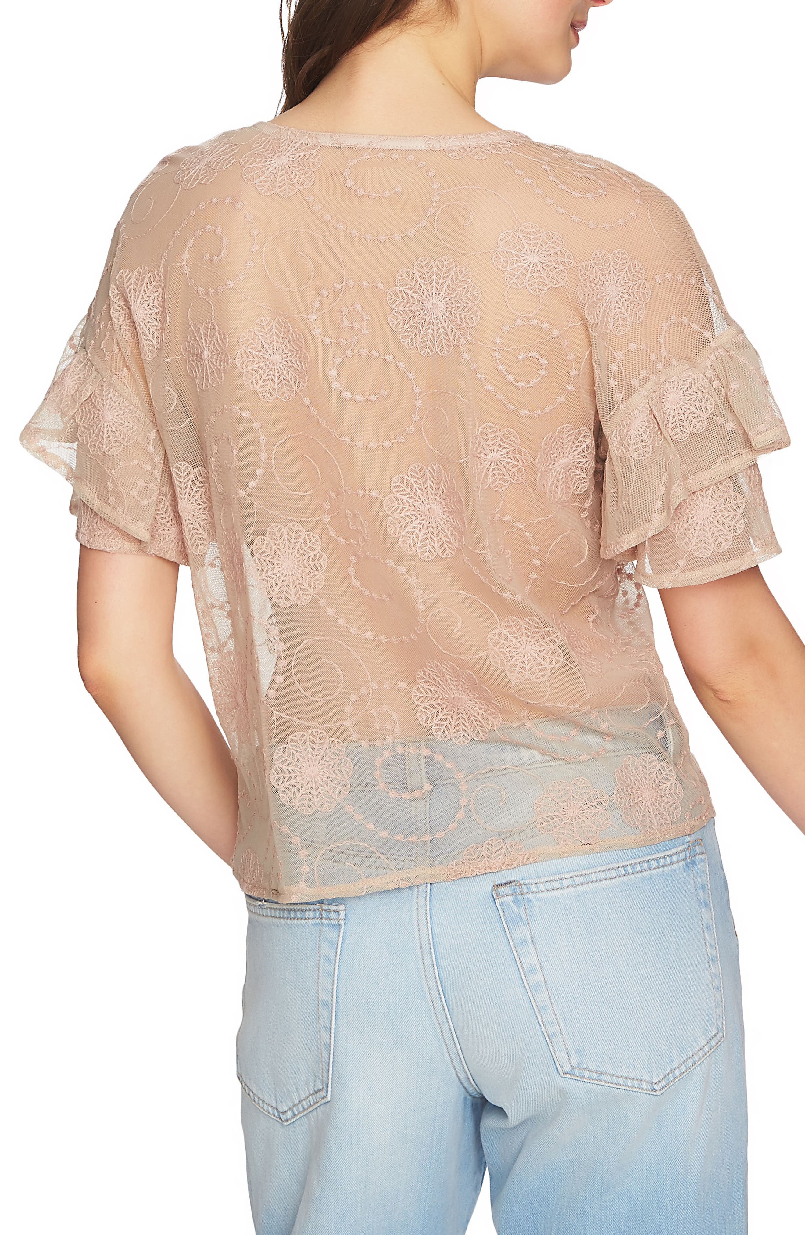Embroidered Ruffle Sleeve Top,                             Alternate thumbnail 2, color,                             Sheer Blush