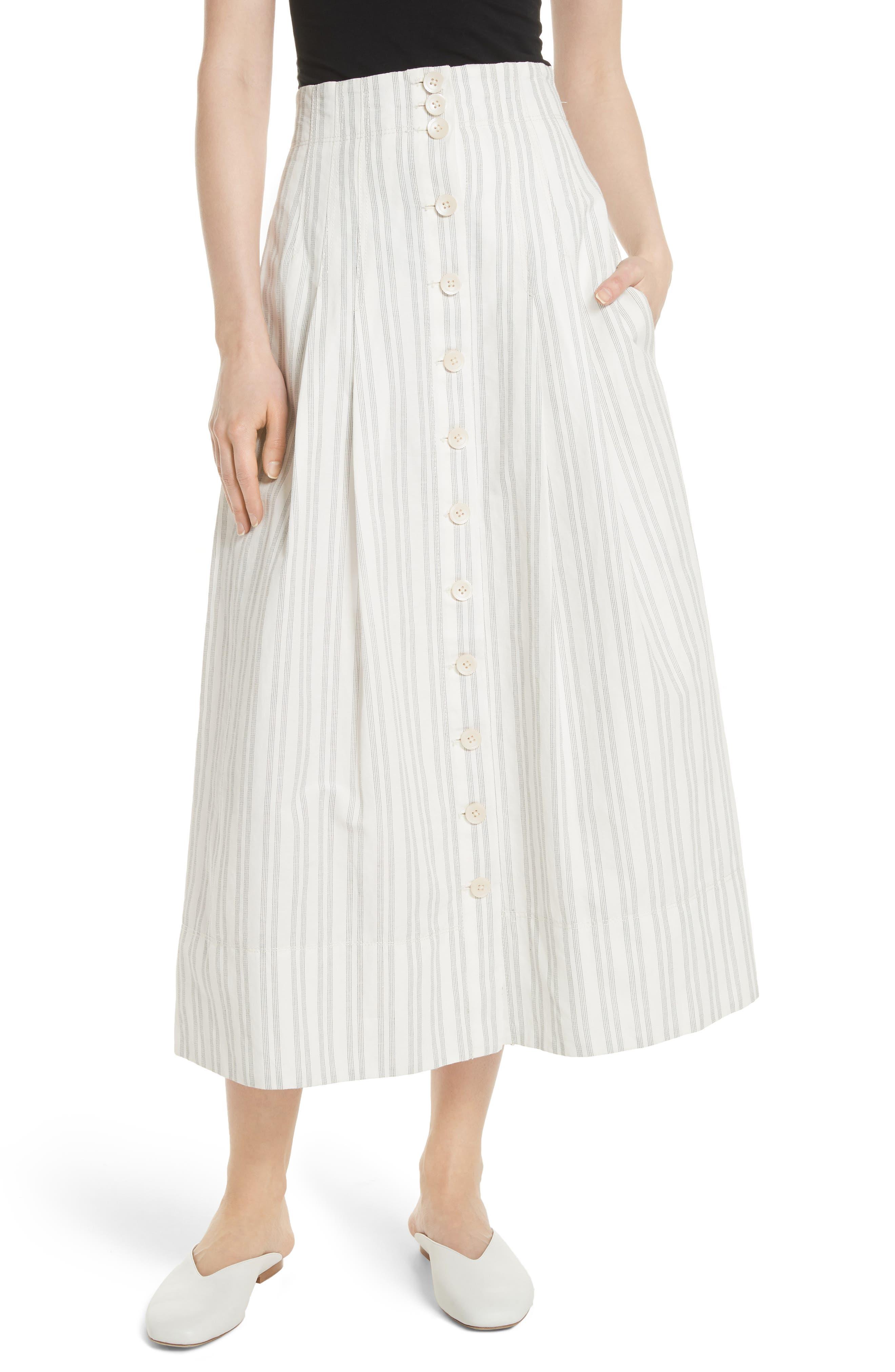 Stripe Midi Skirt,                             Main thumbnail 1, color,                             Snow/ Black