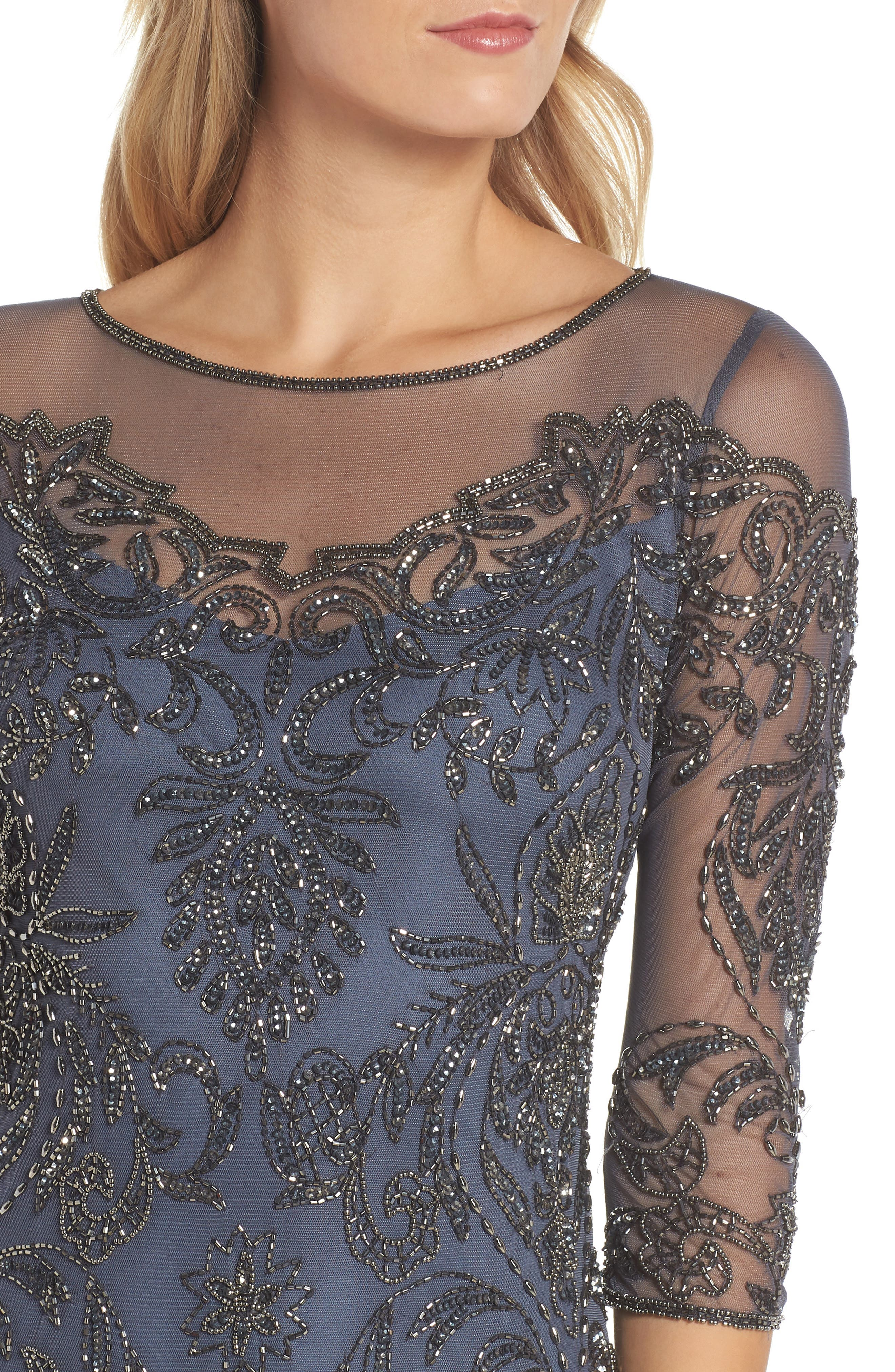 Beaded Illusion Mesh Sheath Dress,                             Alternate thumbnail 4, color,                             Slate
