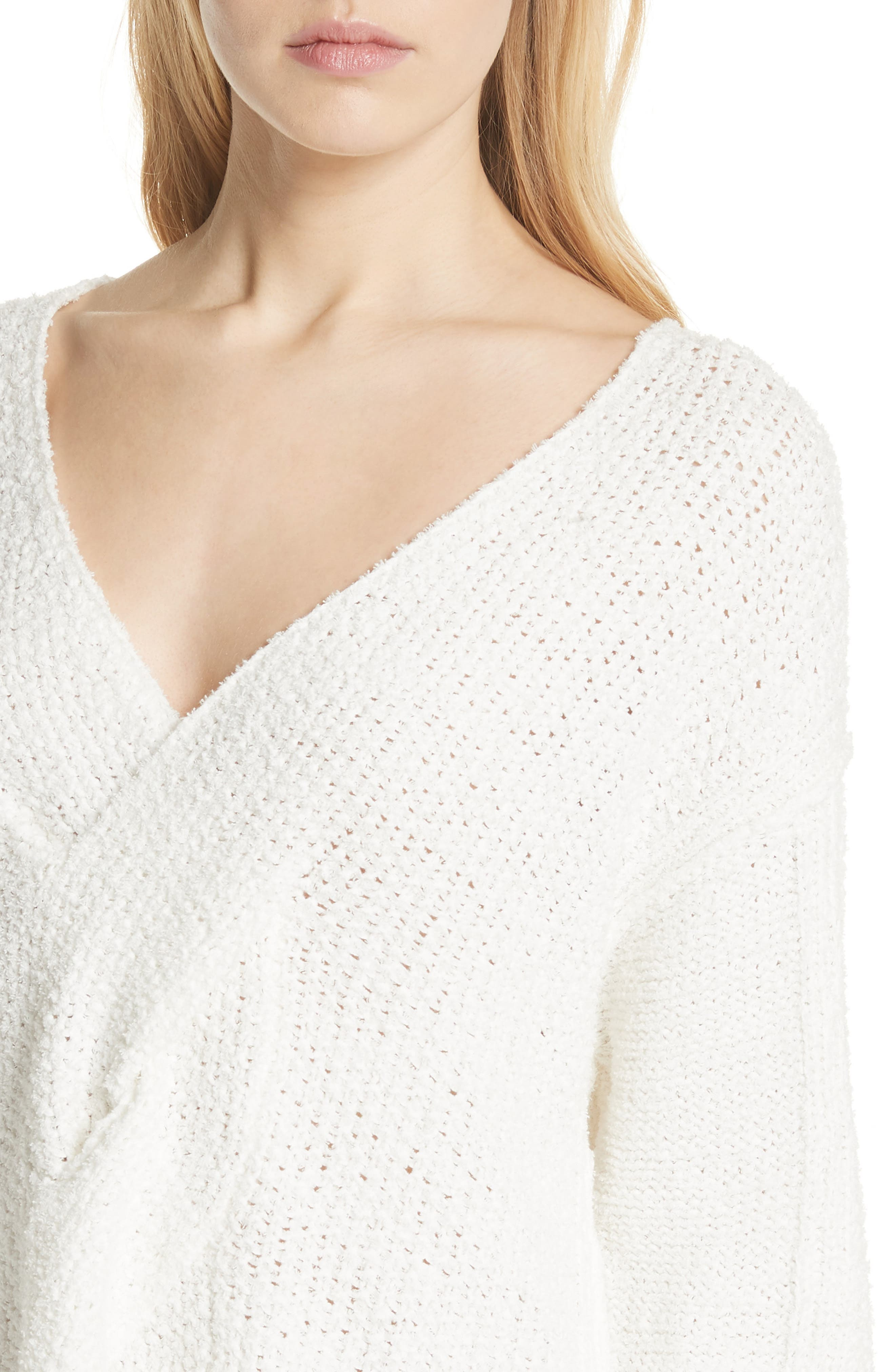 Coco V-Neck Sweater,                             Alternate thumbnail 4, color,                             White