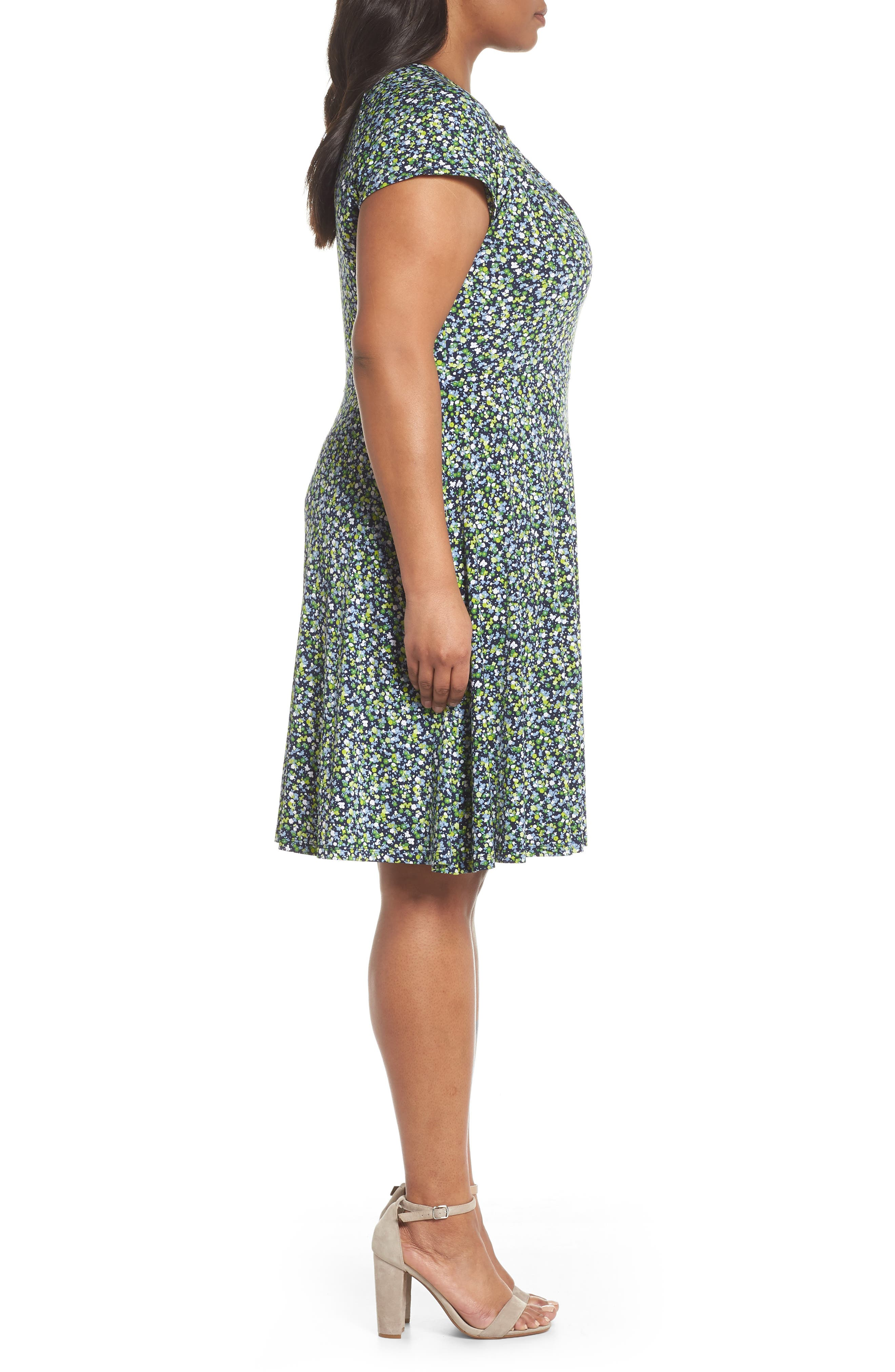 Floral Cutout Jersey Fit & Flare Dress,                             Alternate thumbnail 3, color,                             True Navy/ Green Apple Mu