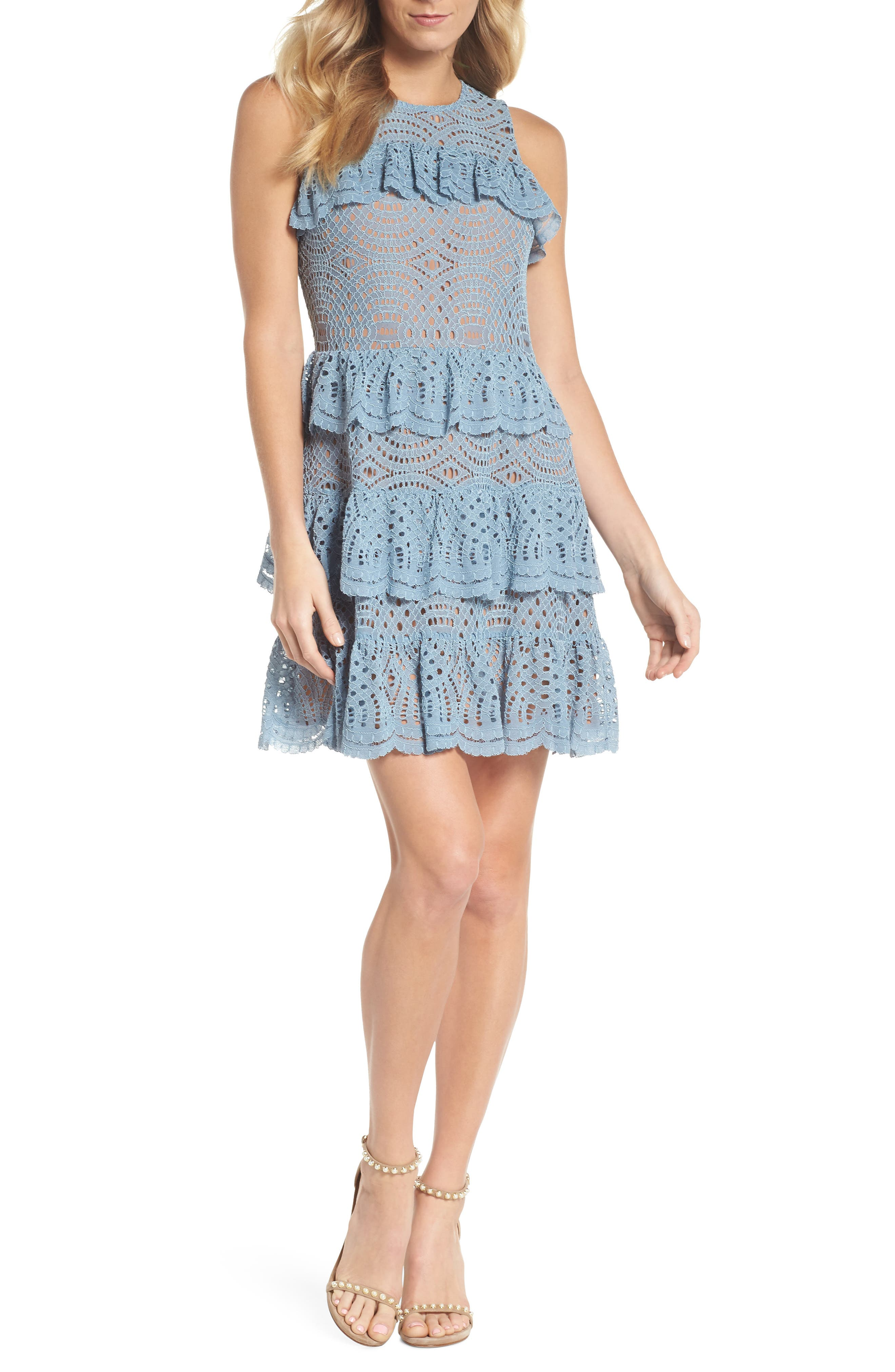 Tiered Lace Dress,                         Main,                         color, Chambray