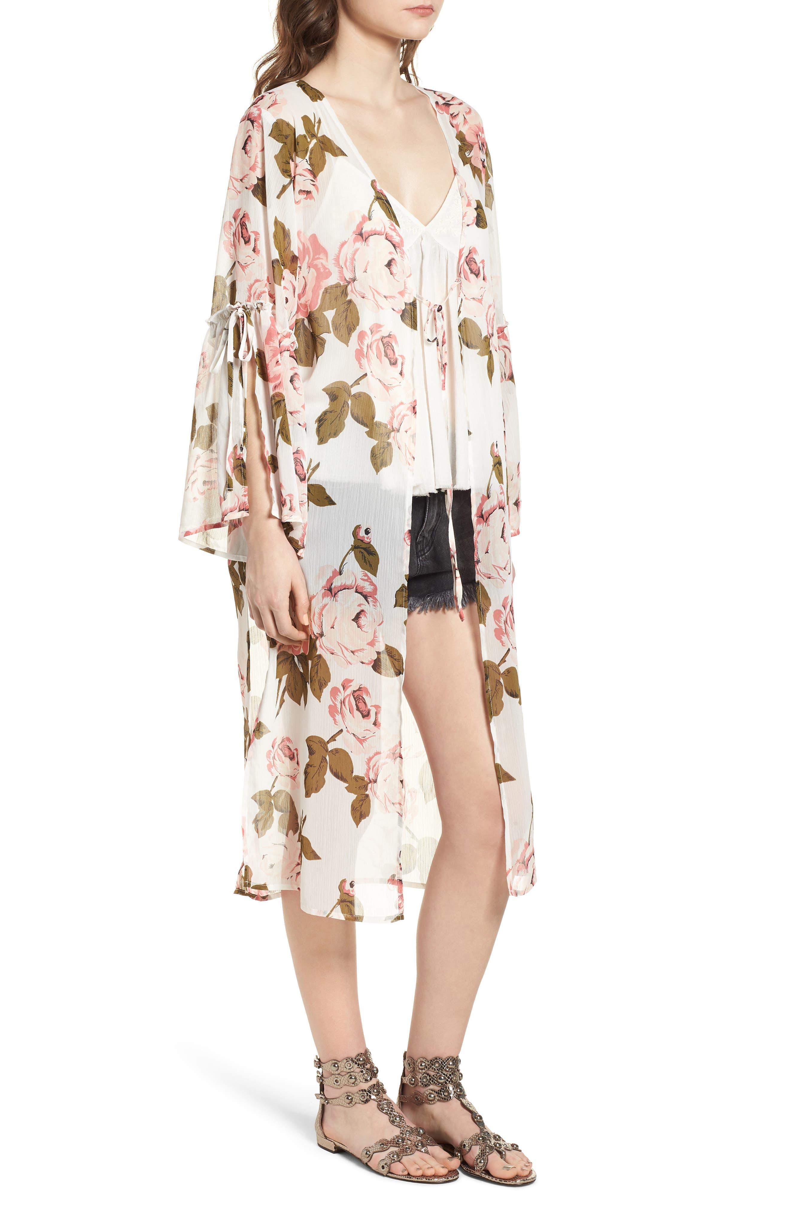 Tie Sleeve Kimono,                             Alternate thumbnail 3, color,                             Ivory Rose Print