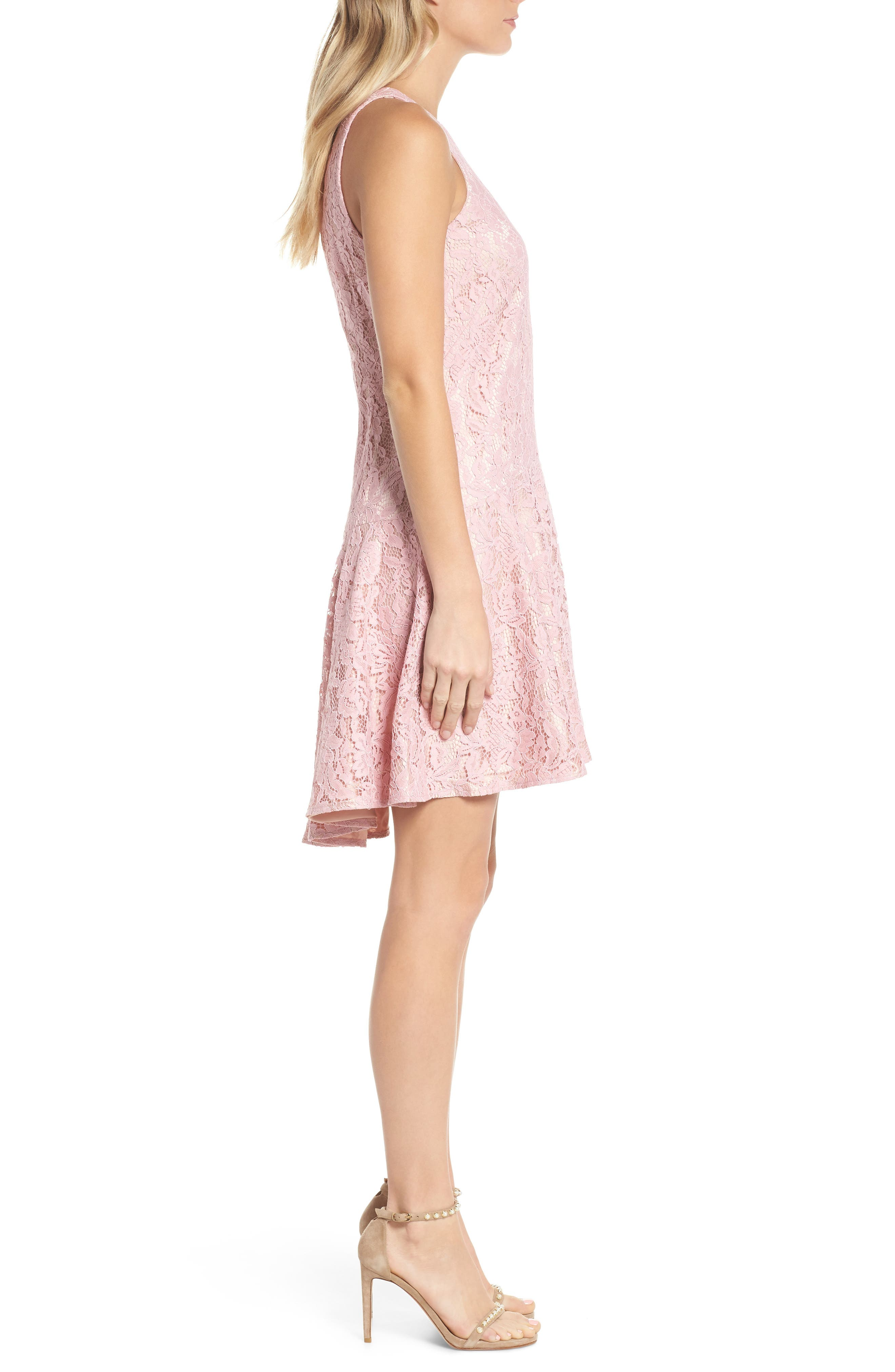 Sleeveless Drop Waist Lace Dress,                             Alternate thumbnail 3, color,                             Blush