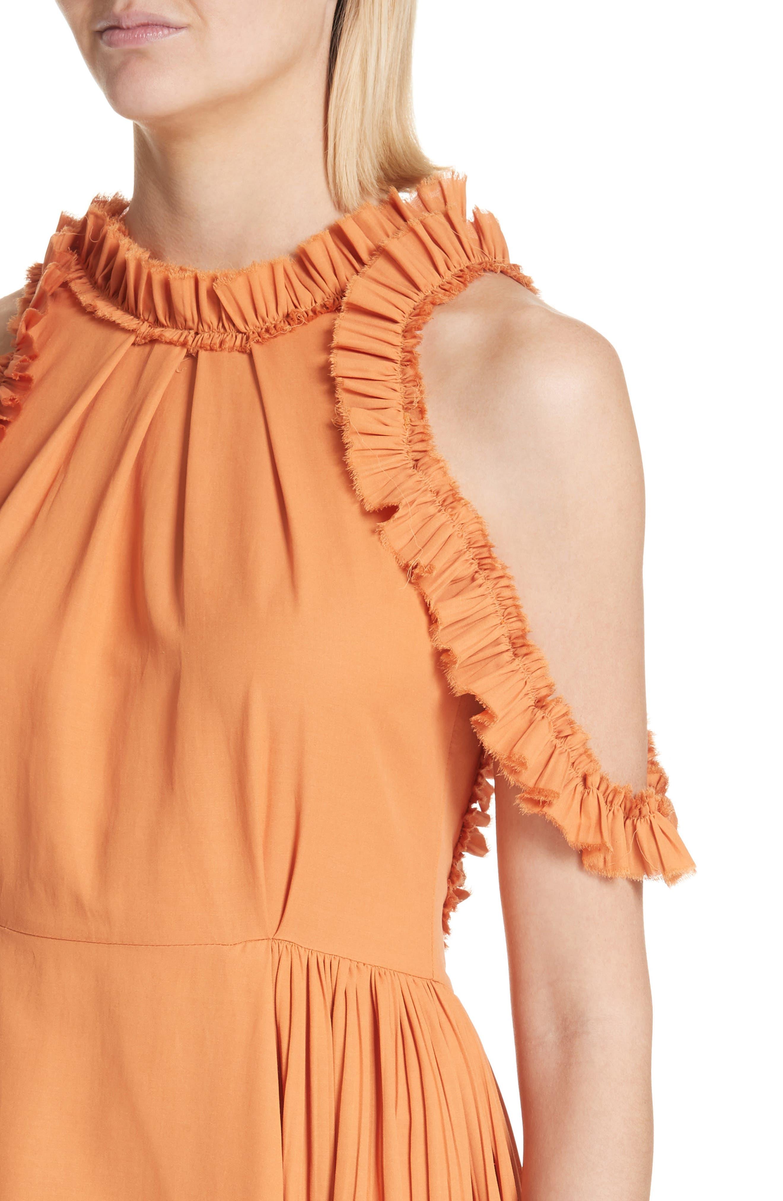 Asymmetrical Ruffle Trim Silk Blend Dress,                             Alternate thumbnail 4, color,                             Orange
