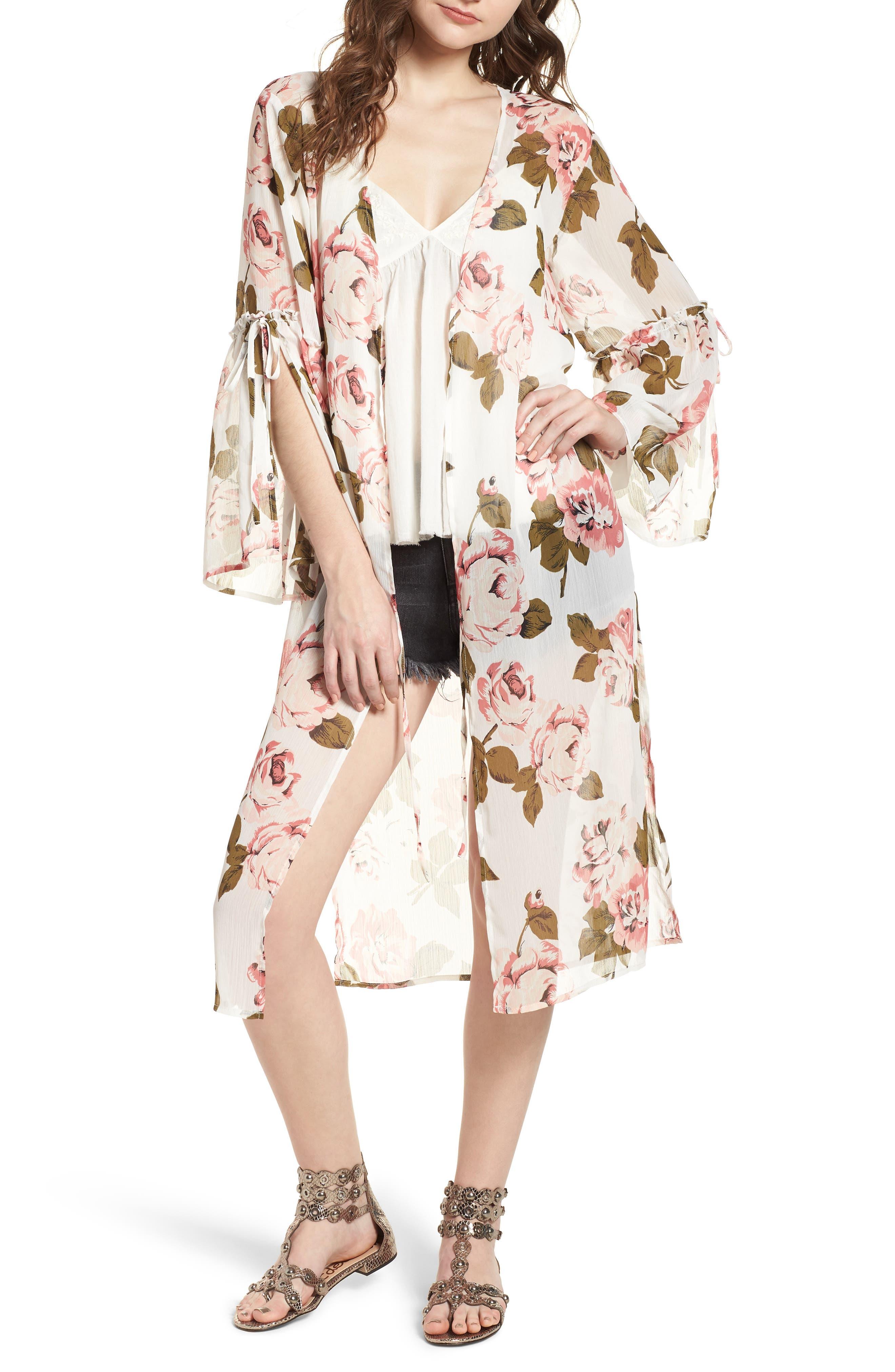 Tie Sleeve Kimono,                             Main thumbnail 1, color,                             Ivory Rose Print