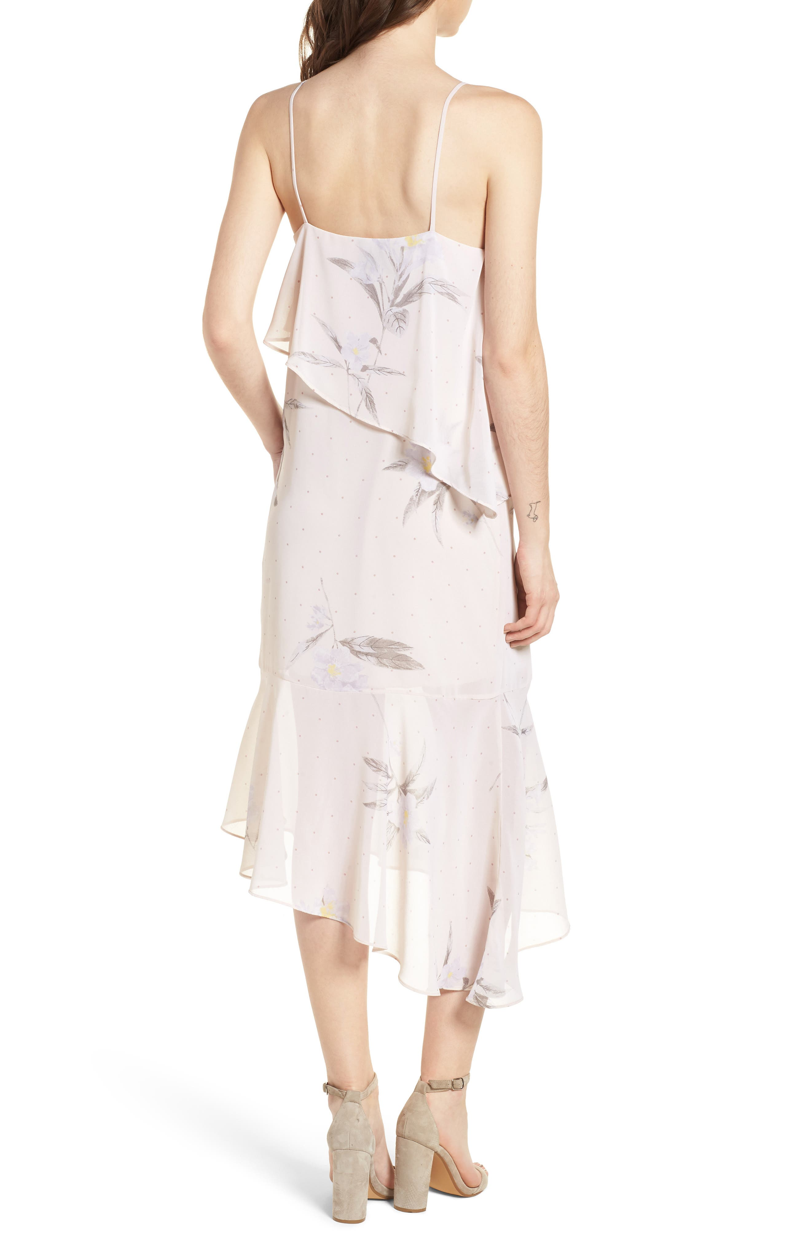 Asymmetric Midi Dress,                             Alternate thumbnail 2, color,                             Light Taupe Floral