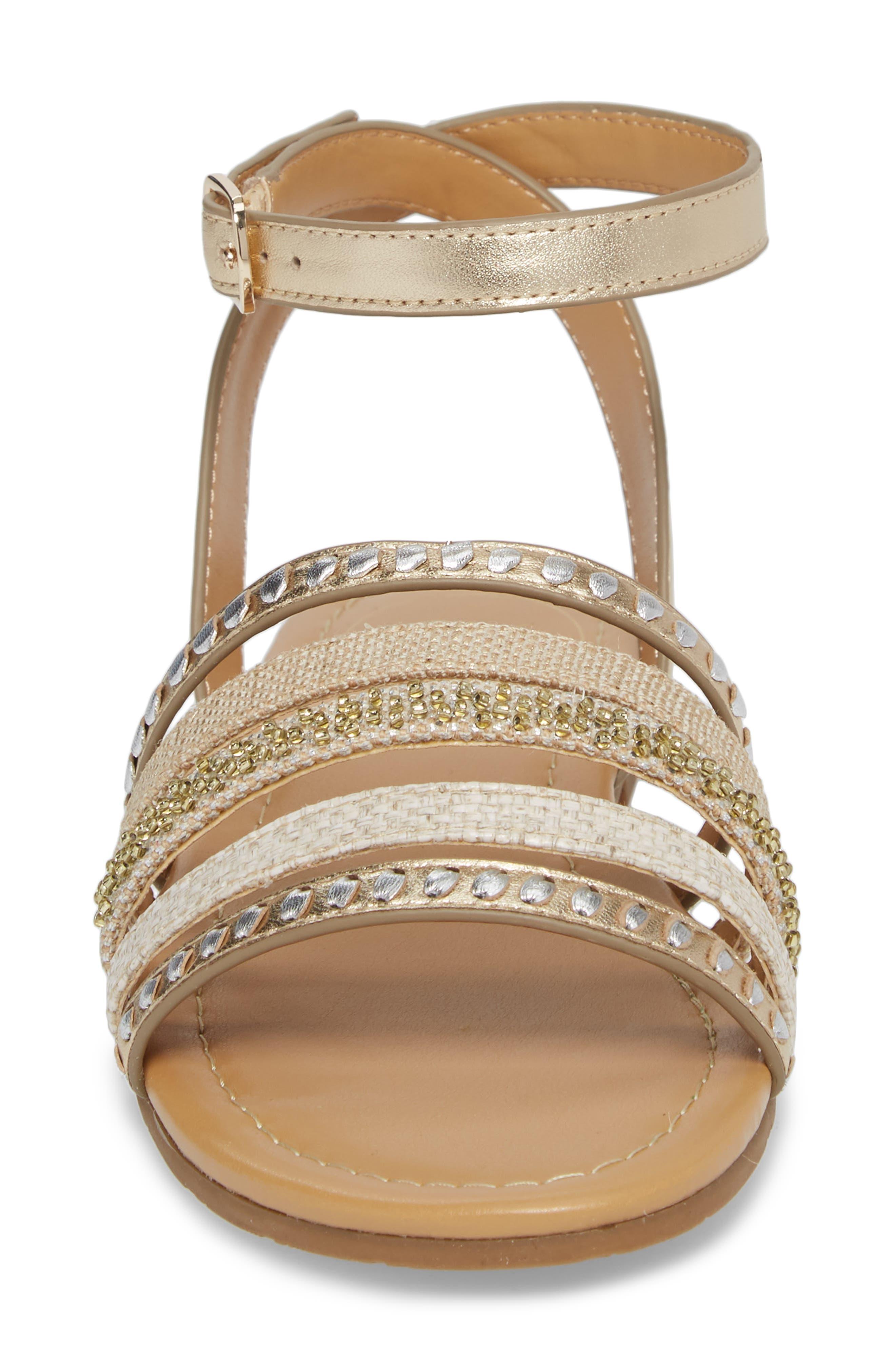 Hannah Braided Embellished Sandal,                             Alternate thumbnail 4, color,                             Platinum/ Silver Leather