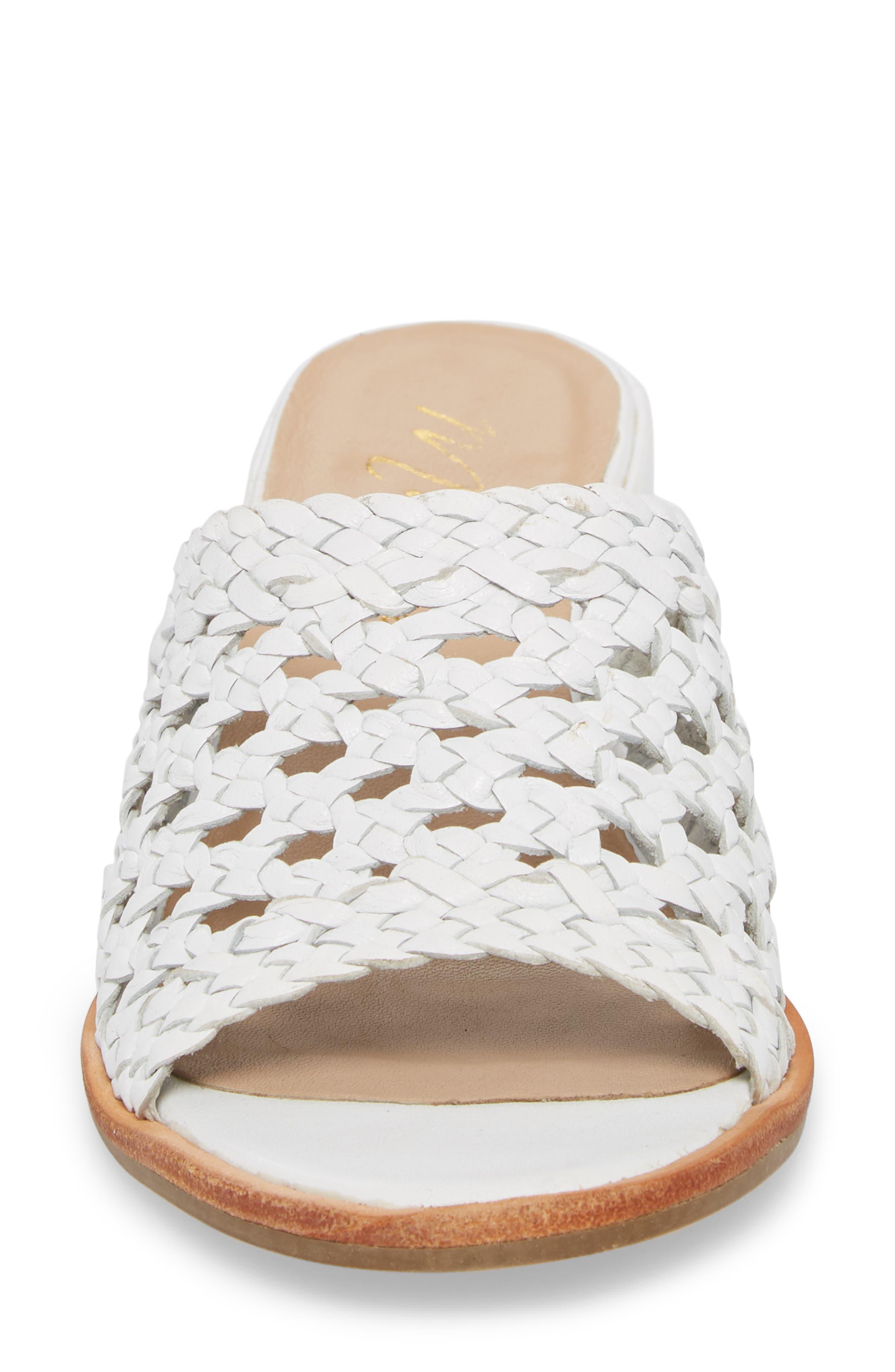 Ditsy Slide Sandal,                             Alternate thumbnail 4, color,                             White Leather