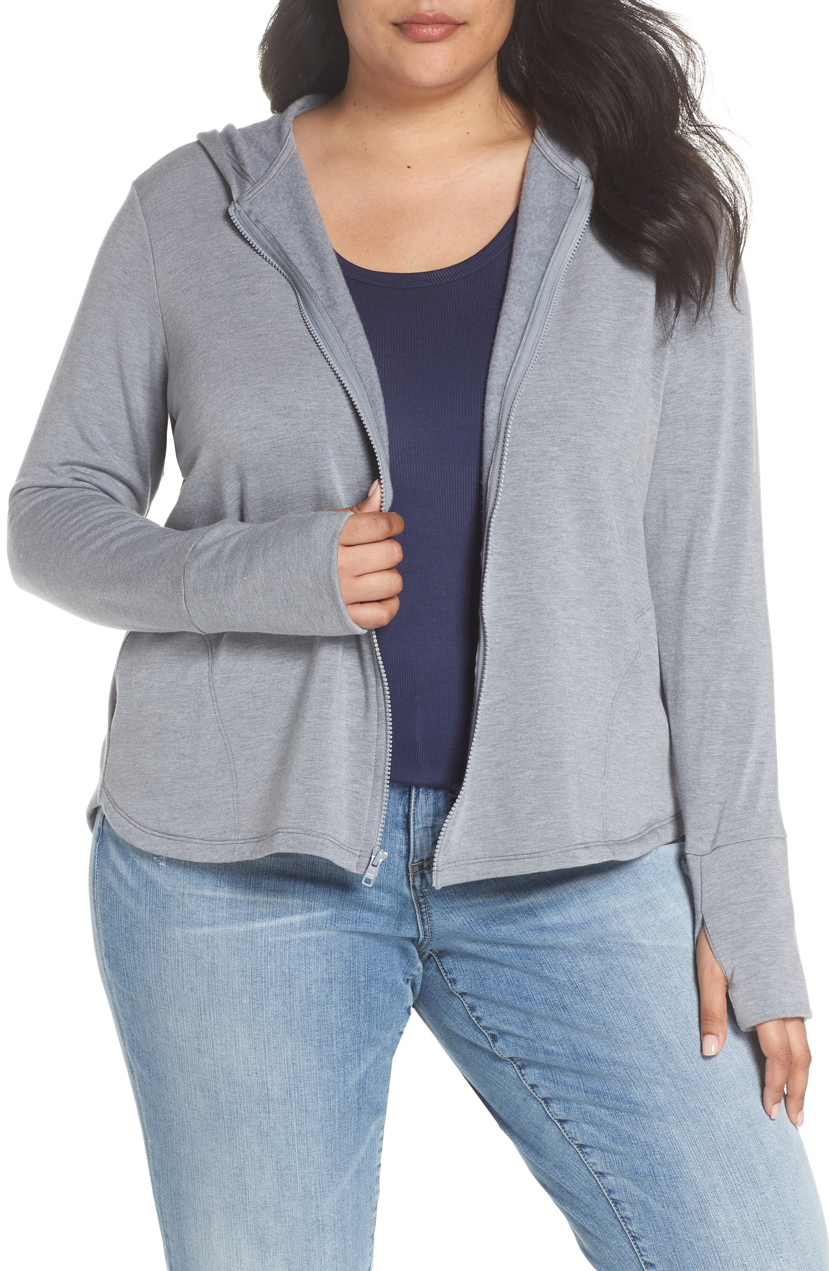 Off-Duty Zip Front Hooded Jacket,                             Main thumbnail 1, color,                             Grey