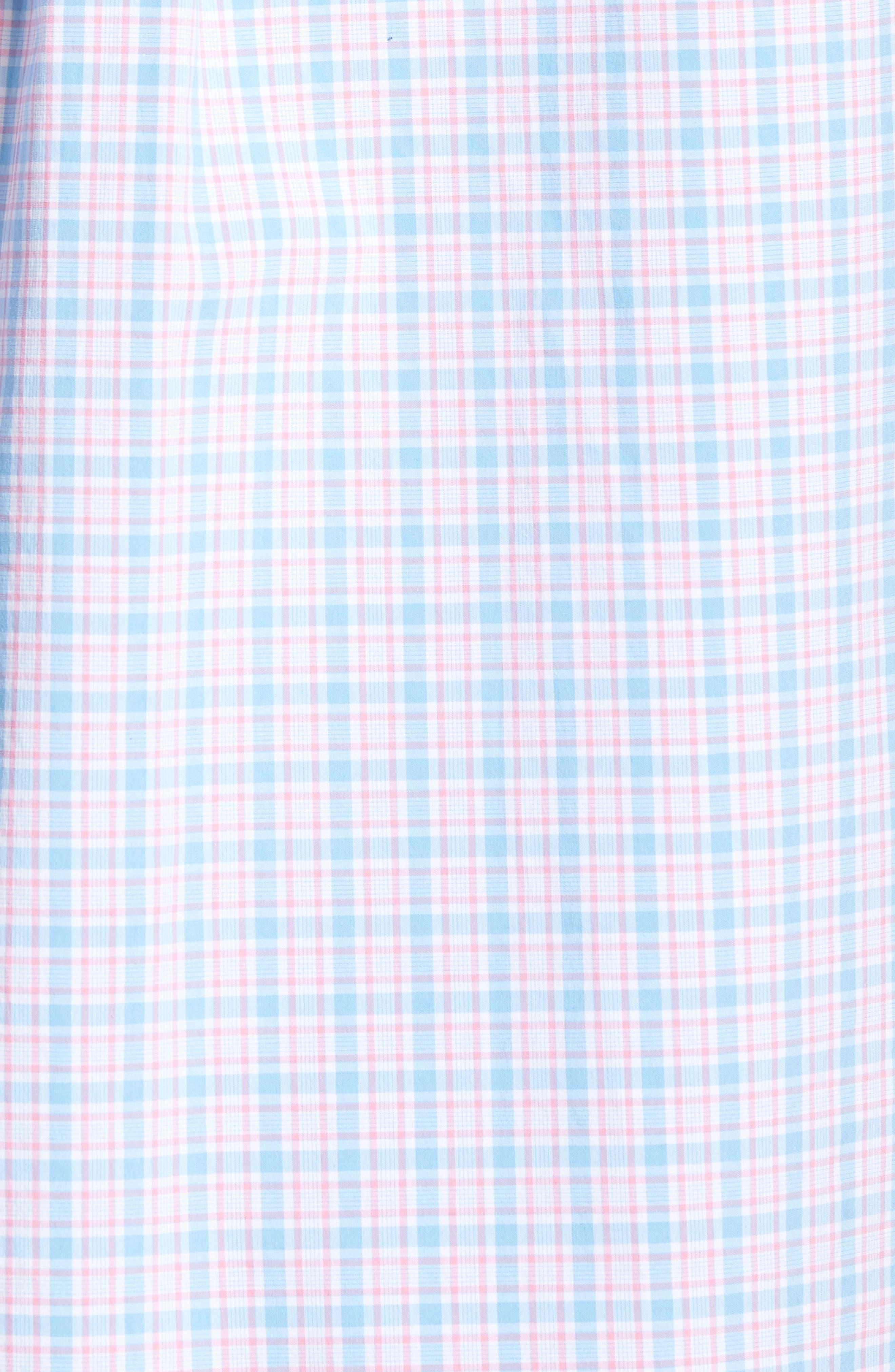 Captain Lyford Classic Fit Stretch Check Sport Shirt,                             Alternate thumbnail 5, color,                             Ocean Breeze
