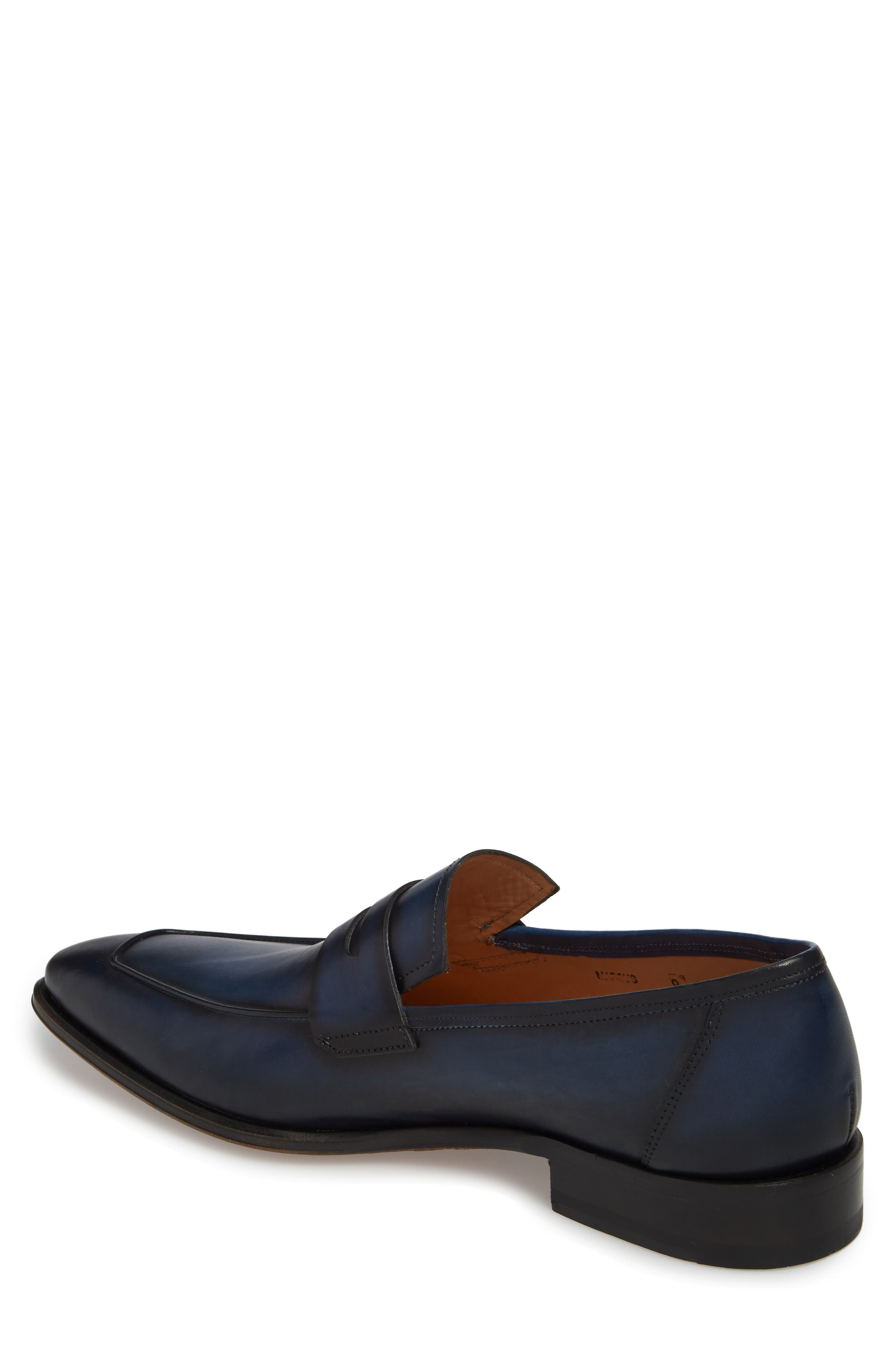 Marcus Penny Loafer,                             Alternate thumbnail 2, color,                             Mid Blue Leather