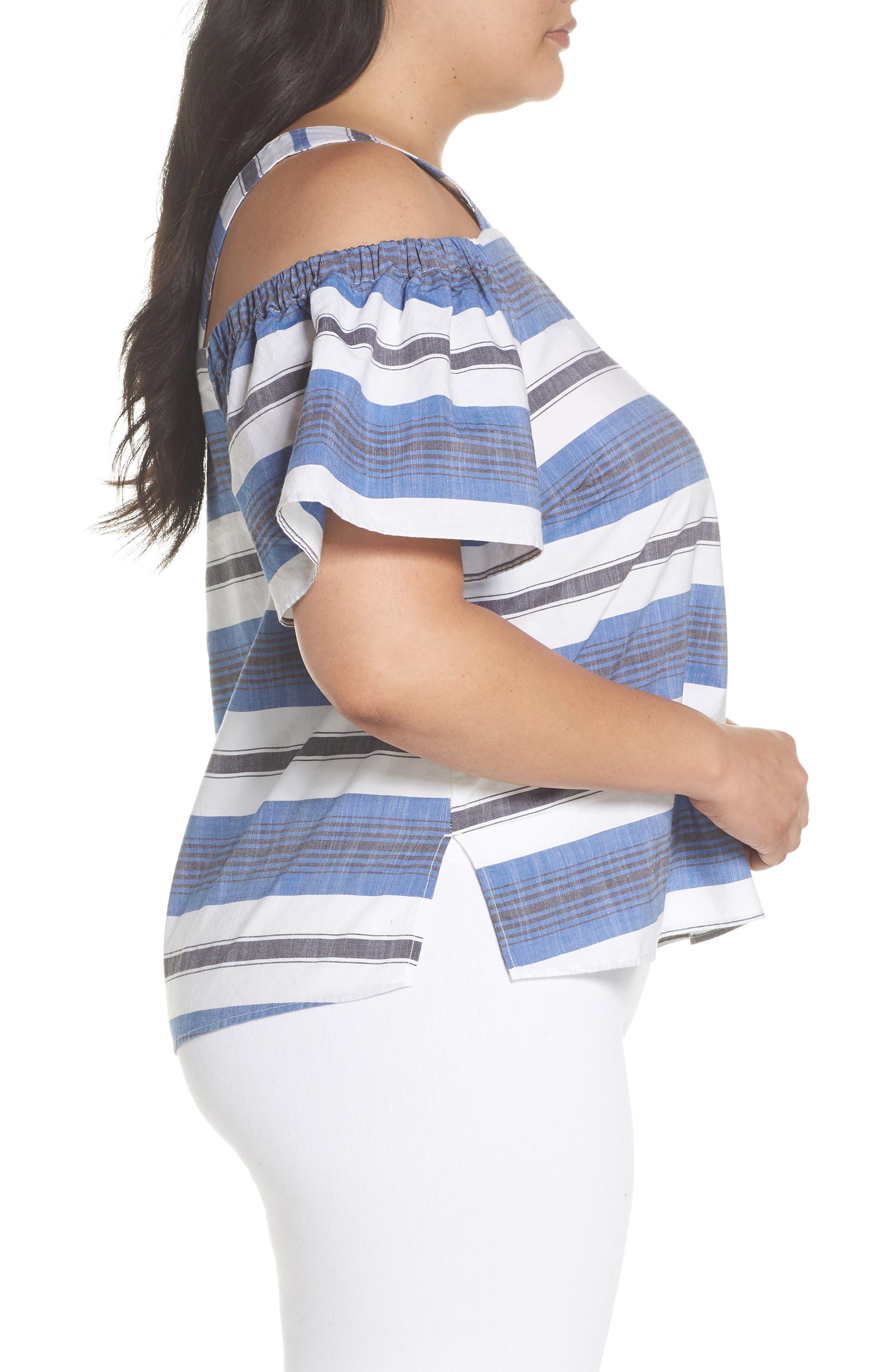 Cold Shoulder Stripe Top,                             Alternate thumbnail 3, color,                             Blue Multi