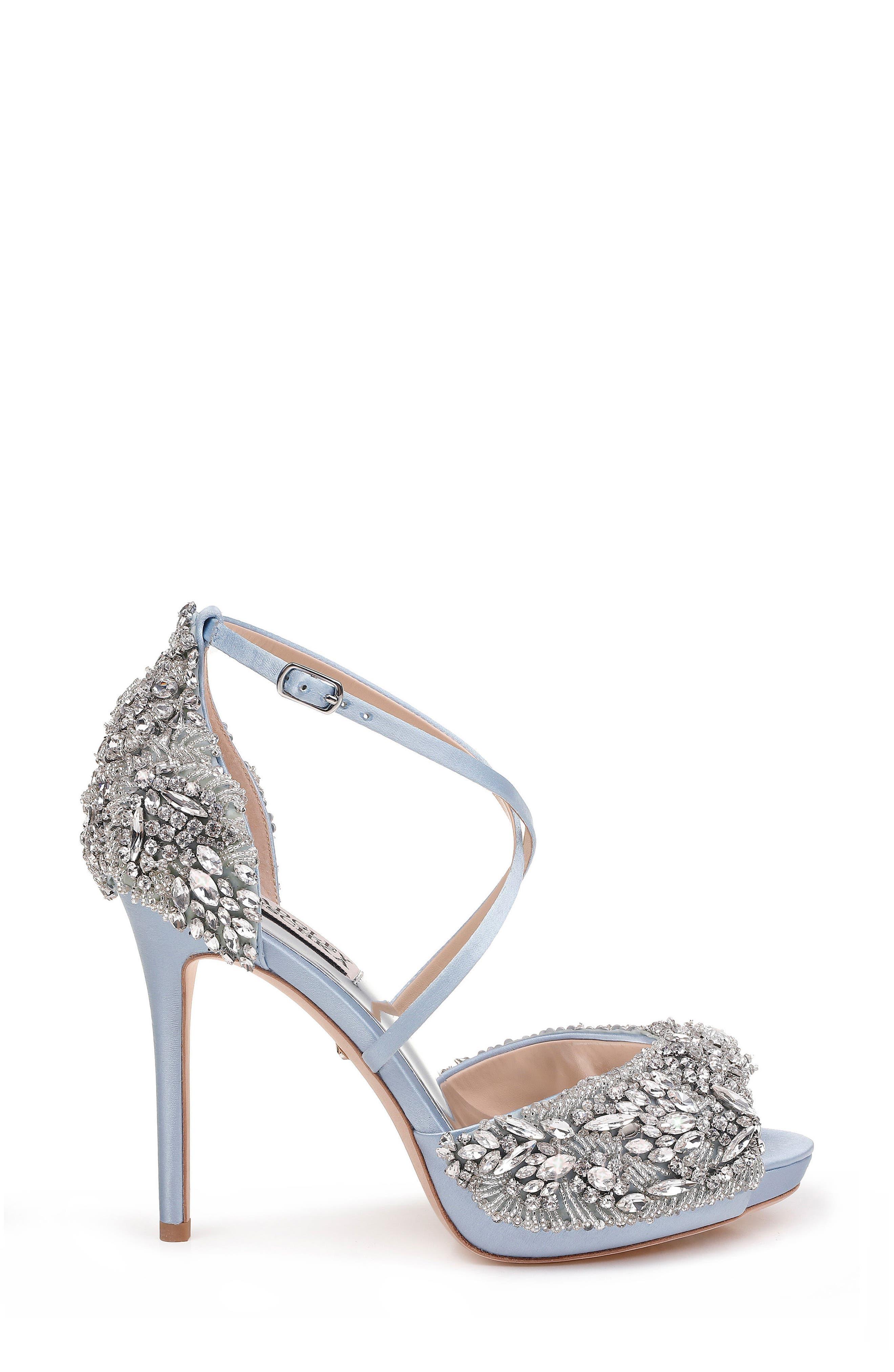 Hyper Crystal Embellished Sandal,                             Alternate thumbnail 3, color,                             Light Blue Satin