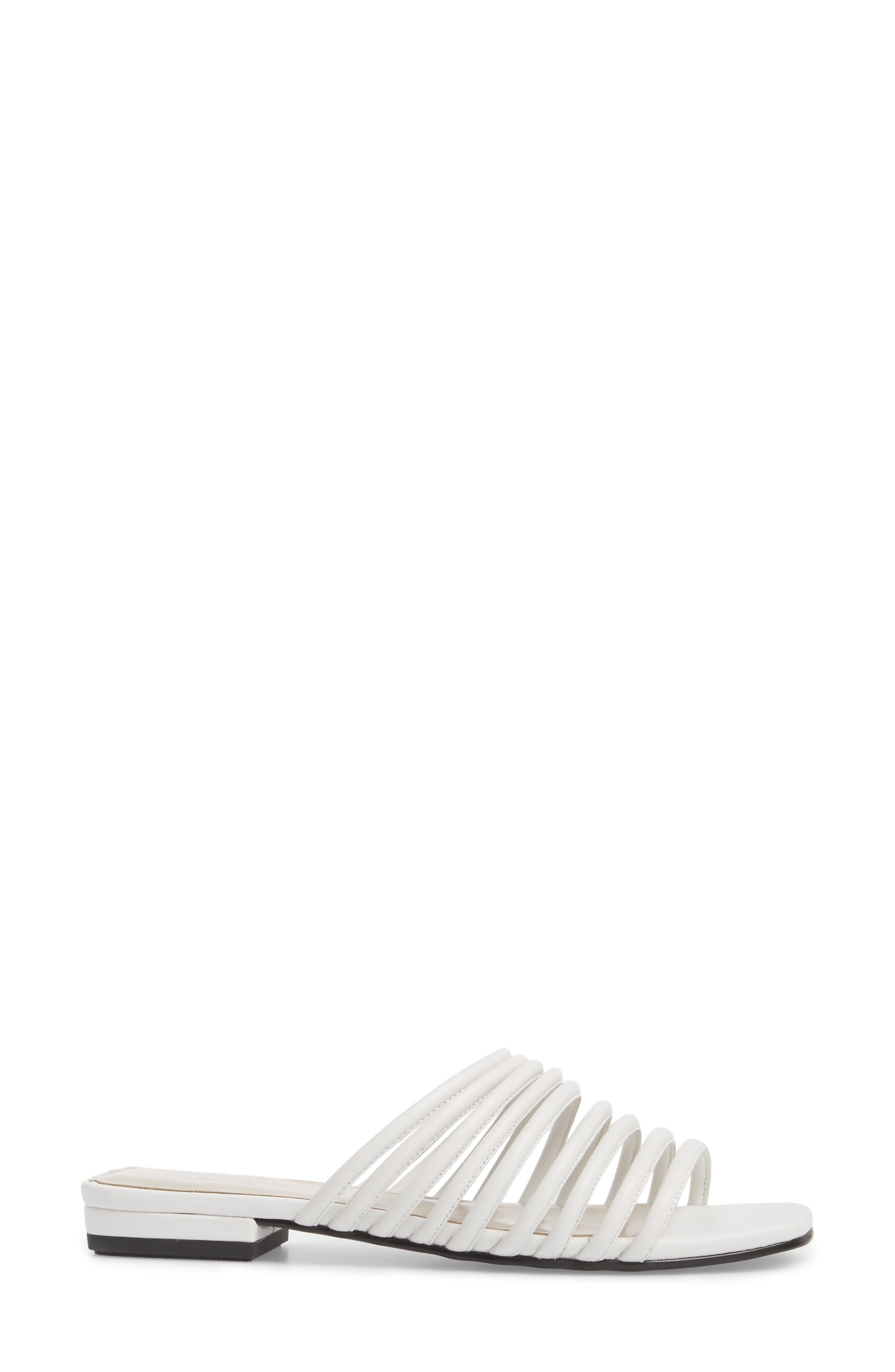 Becky Slide Sandal,                             Alternate thumbnail 3, color,                             White Leather