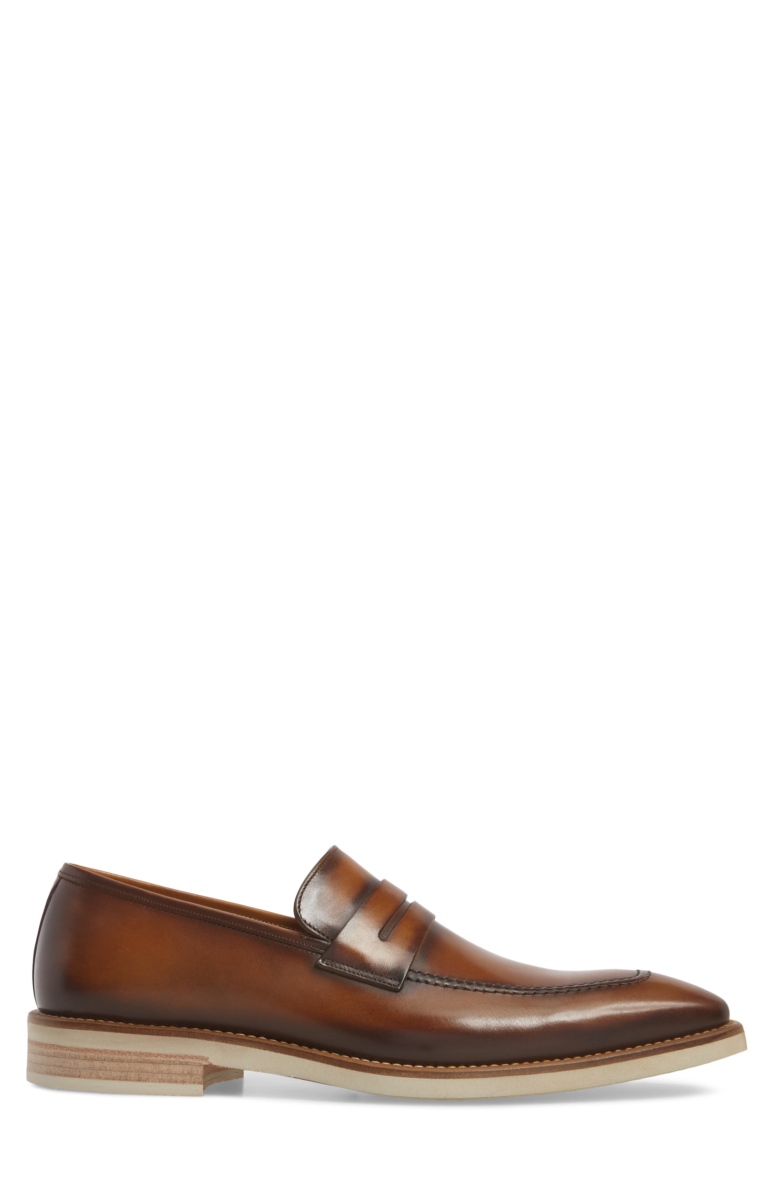 Castor Apron Toe Penny Loafer,                             Alternate thumbnail 3, color,                             Honey Leather