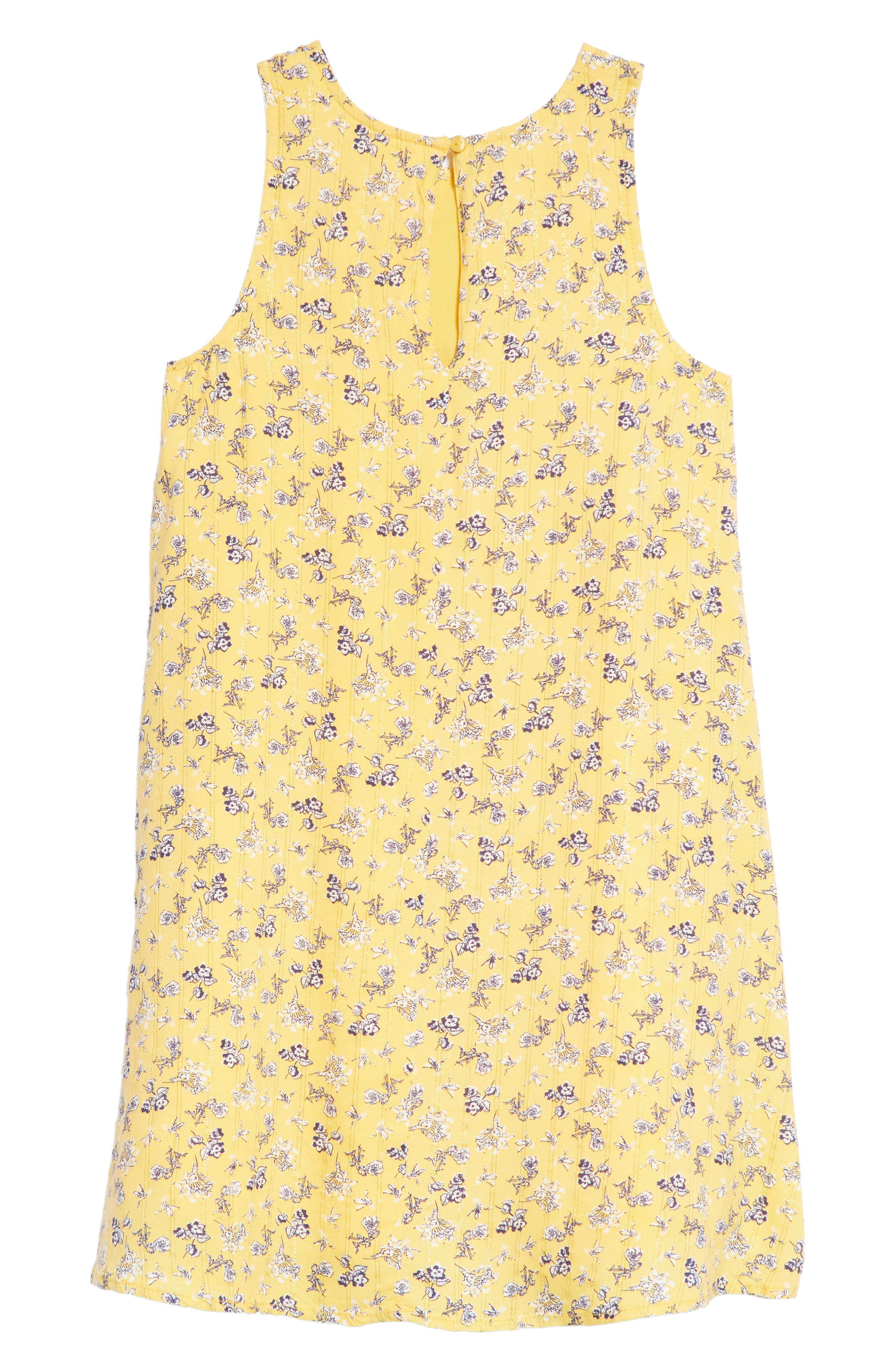 Floral Sleeveless Shift Dress,                             Alternate thumbnail 2, color,                             Yellow Sunset Spring Blooms
