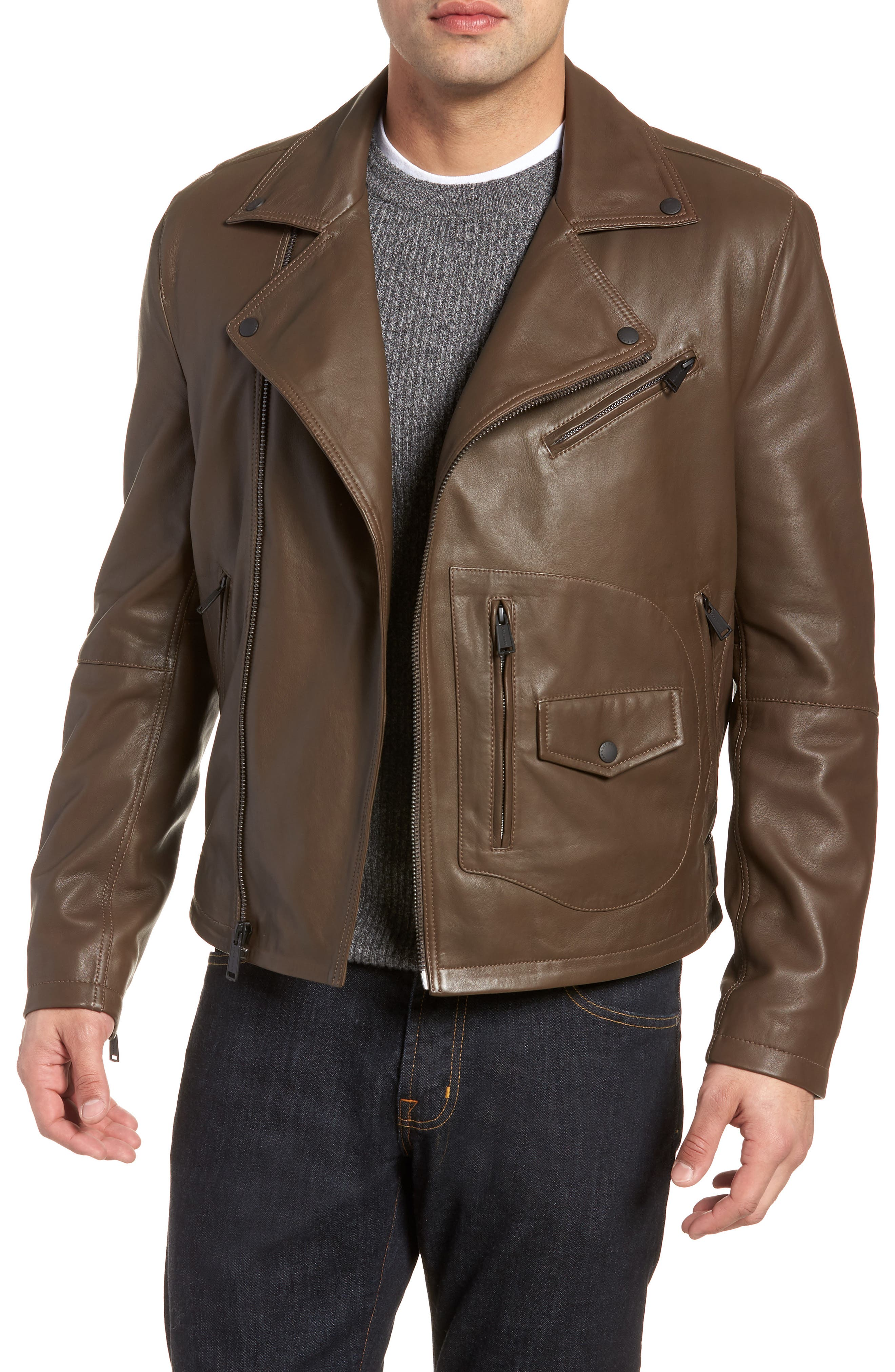 Alternate Image 1 Selected - Cole Haan Lamb Leather Jacket
