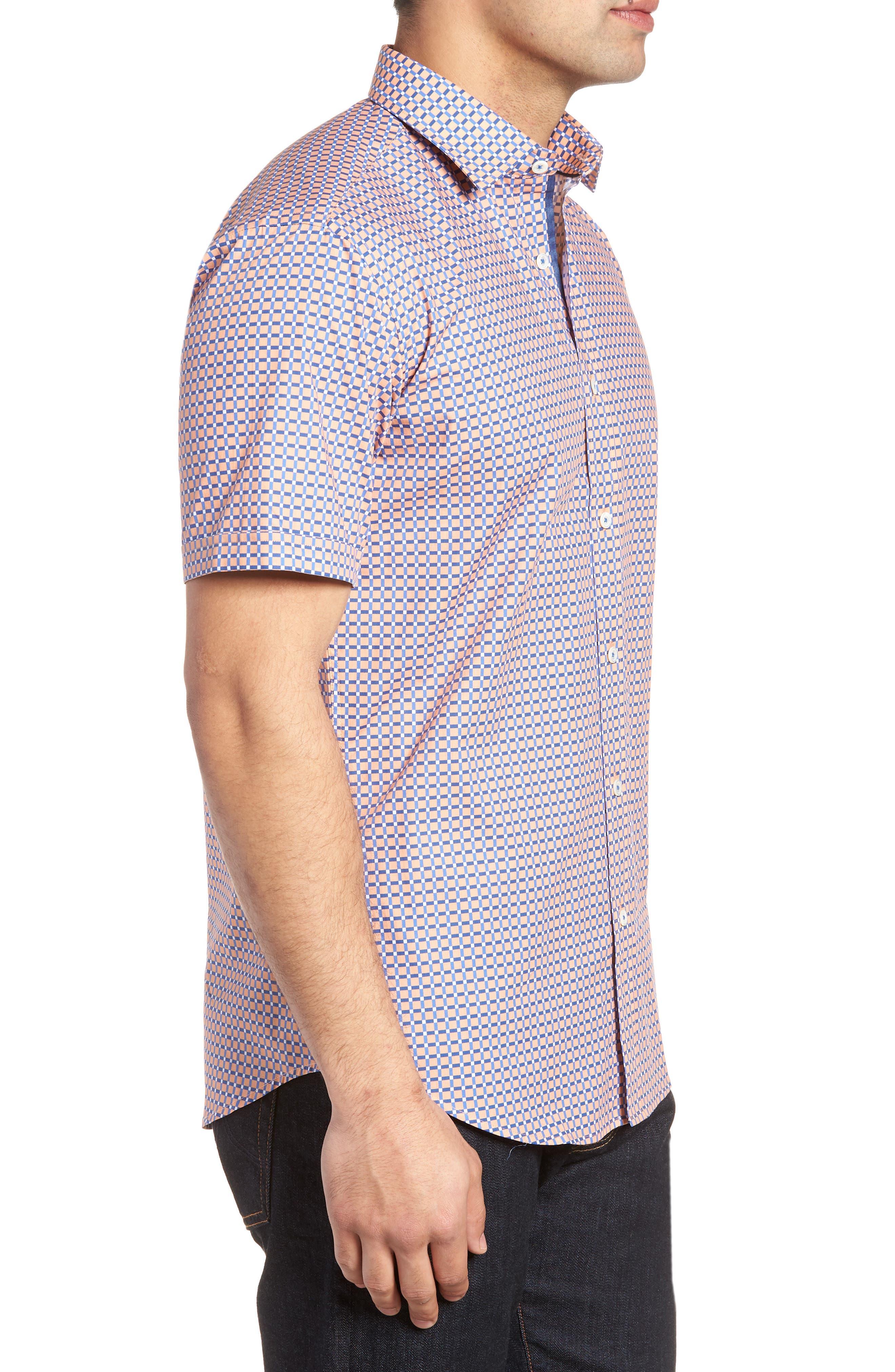 Woven Sport Shirt,                             Alternate thumbnail 3, color,                             Coral