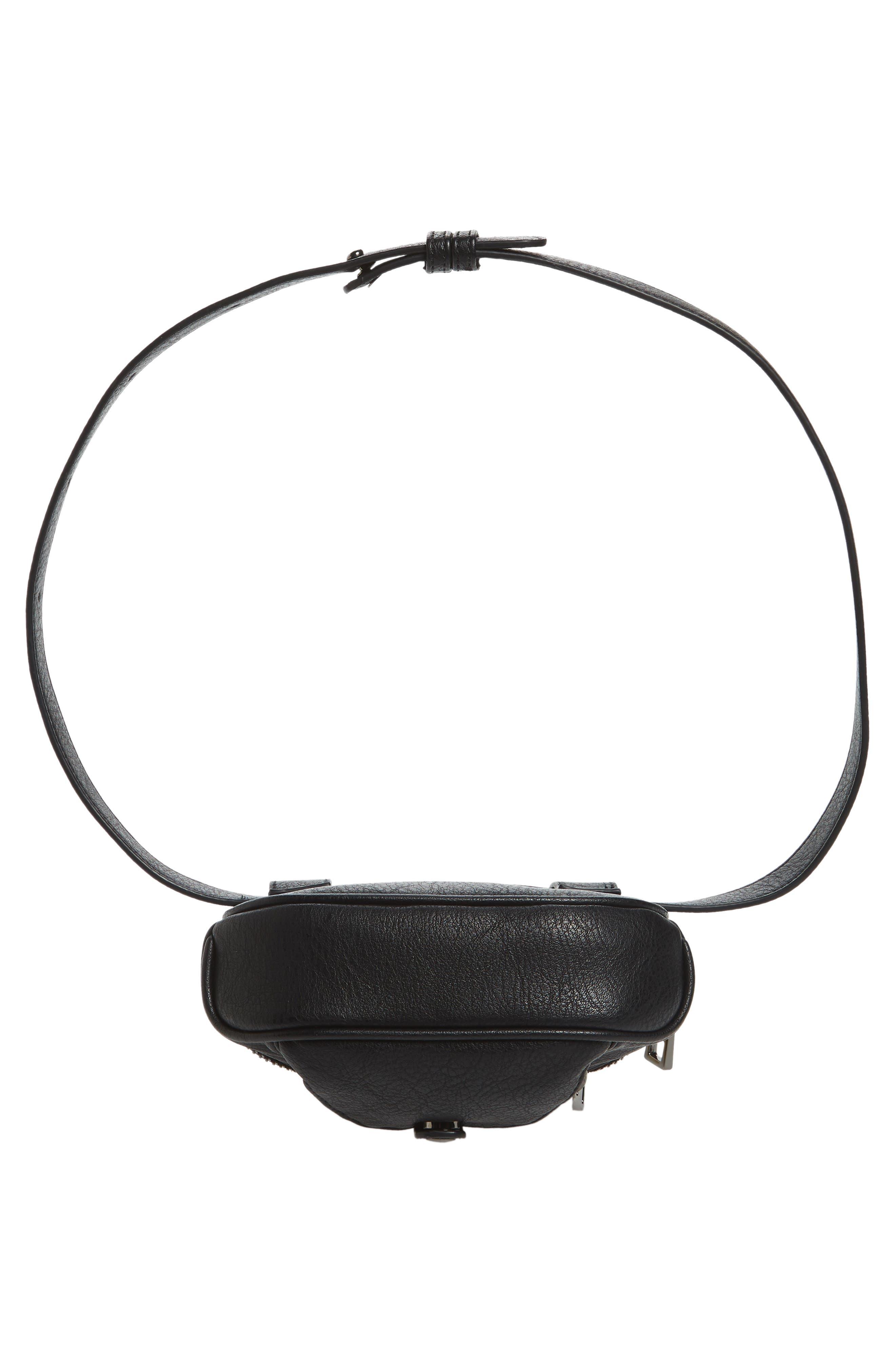 Faux Leather Belt Bag,                             Alternate thumbnail 7, color,                             Black