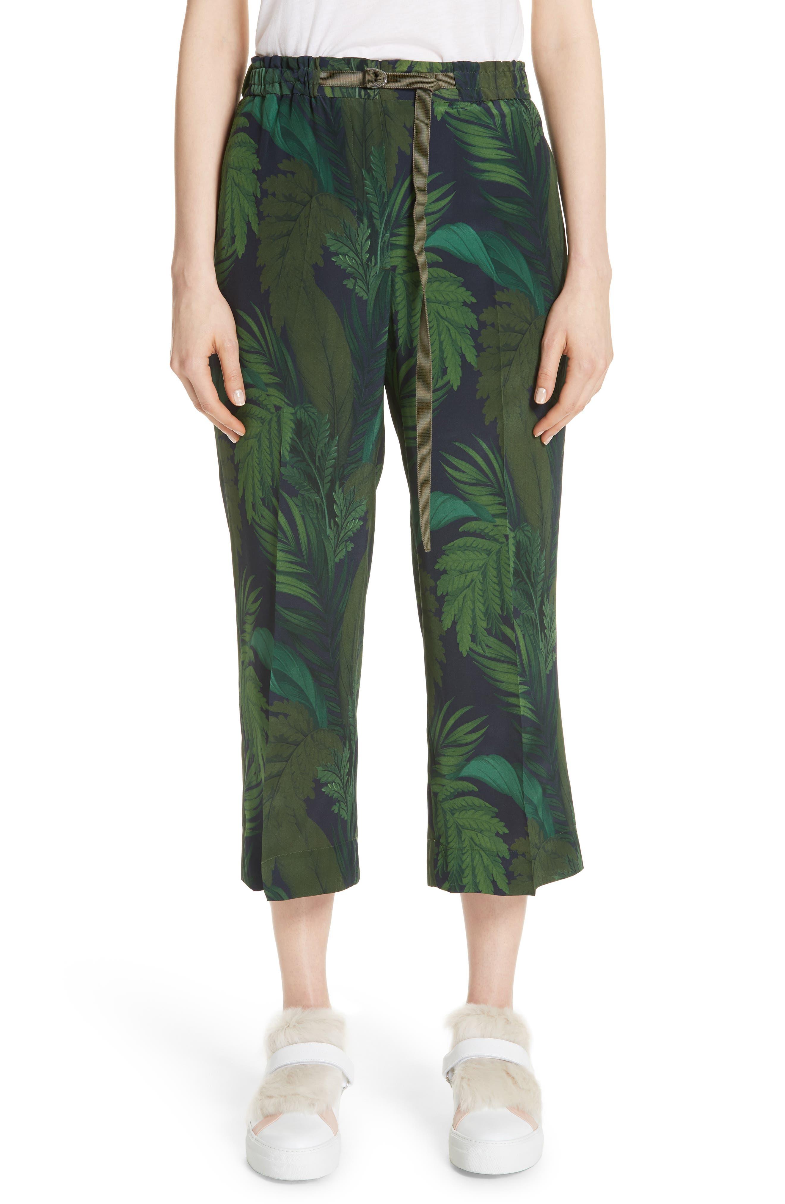 Palm Print Crop Silk Pants,                         Main,                         color, Navy/ Green