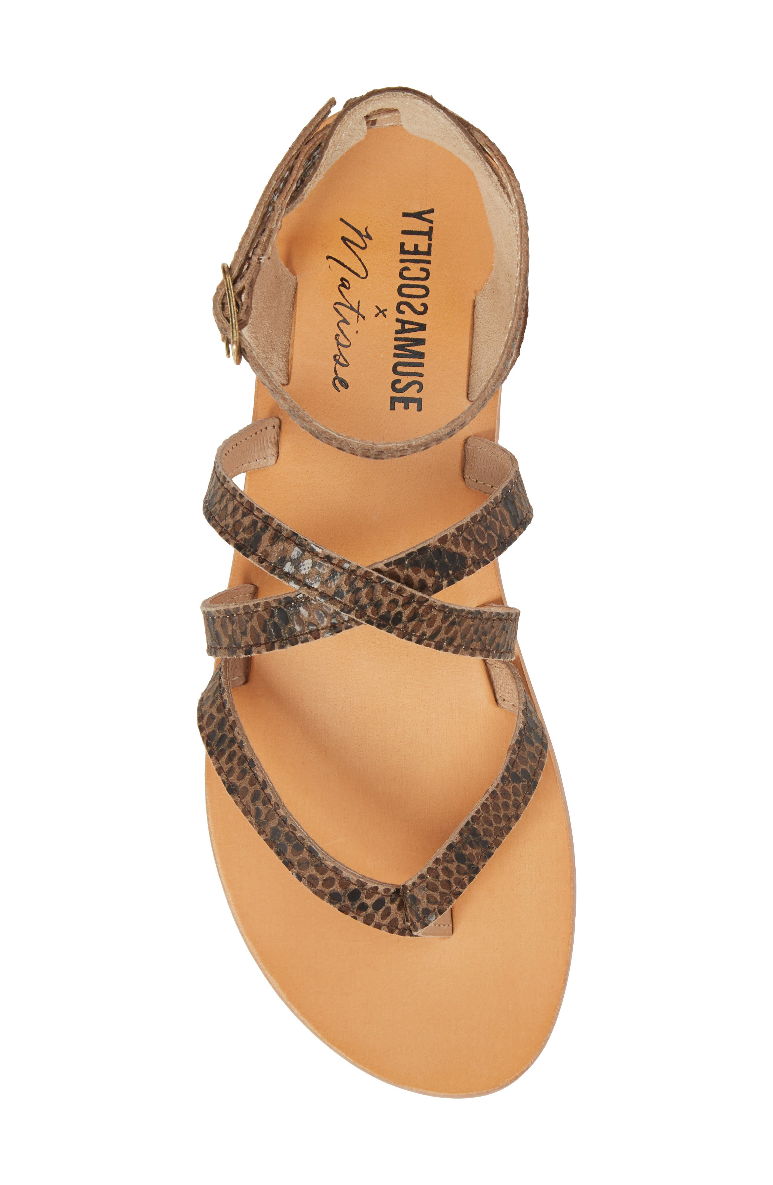 Strappy Sandal,                             Alternate thumbnail 5, color,                             Brown Snake Leather