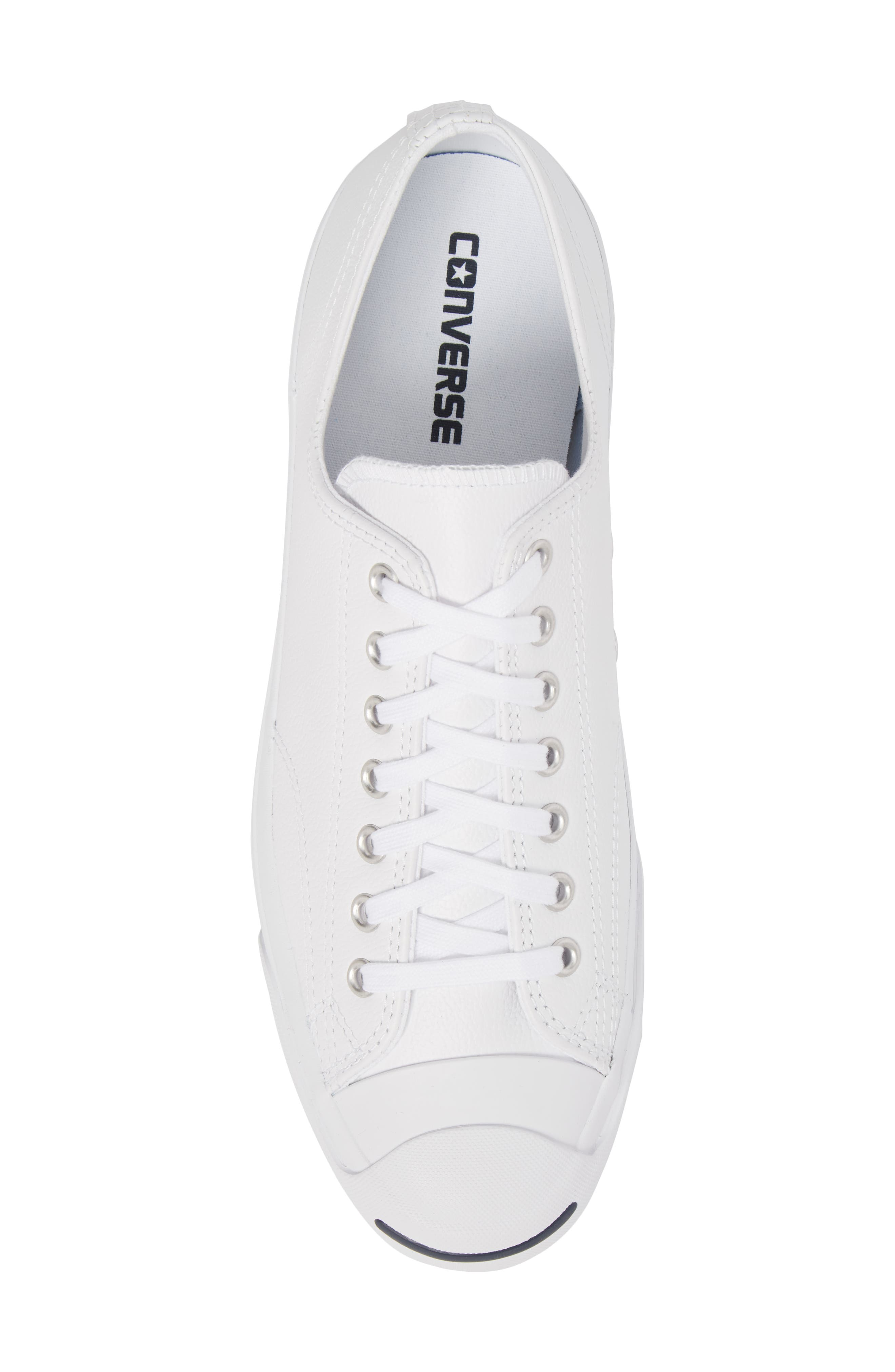 'Jack Purcell' Leather Sneaker,                             Alternate thumbnail 5, color,                             White/ Navy