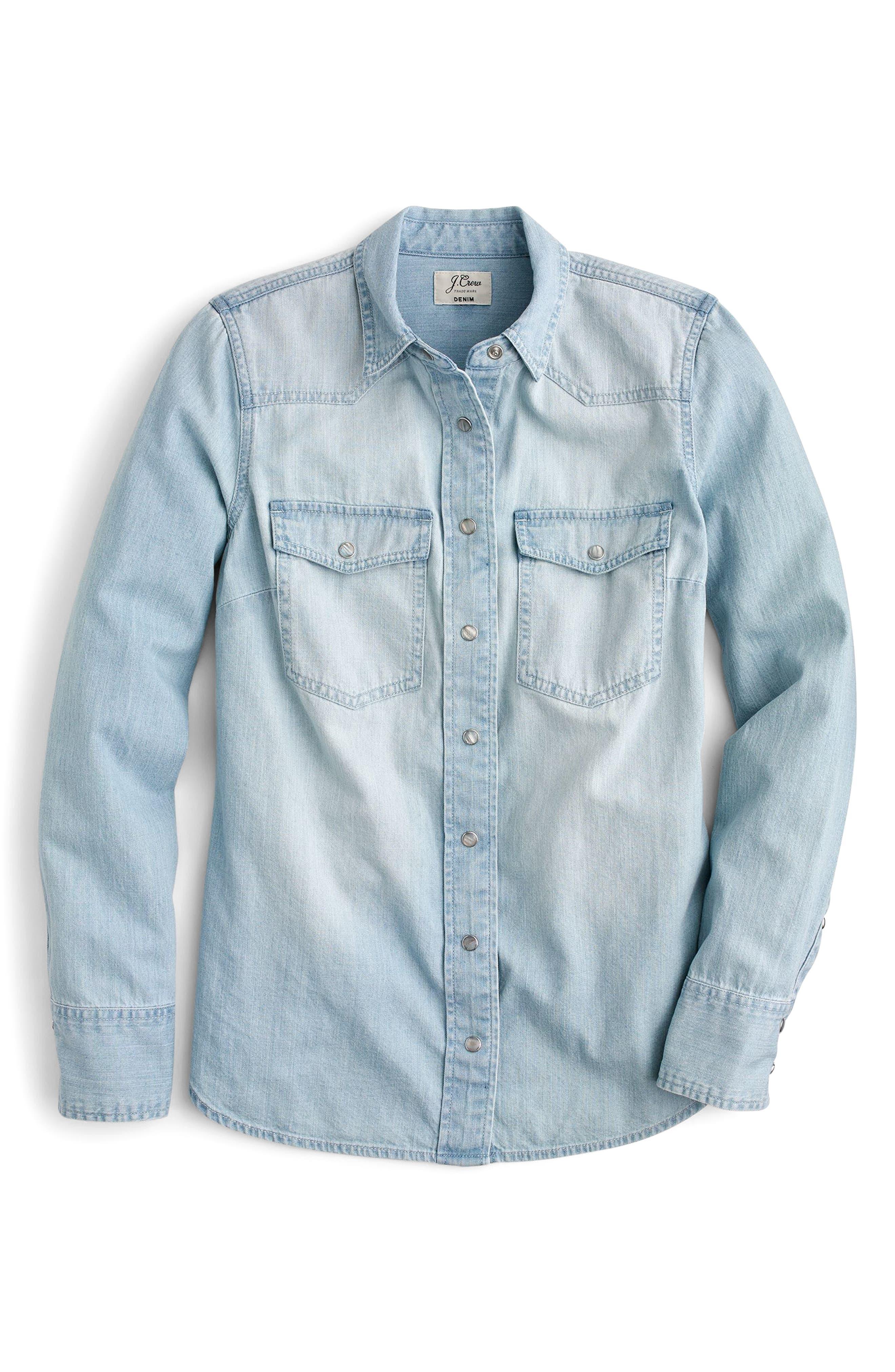 Light Wash Western Shirt,                             Alternate thumbnail 4, color,                             Clover Wash