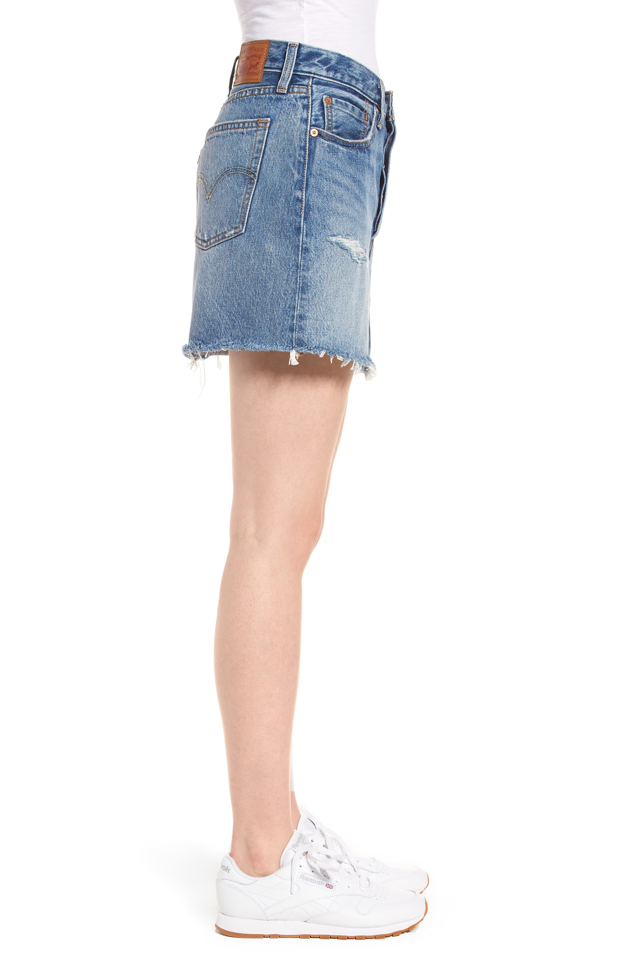 Distressed Denim Skirt,                             Alternate thumbnail 3, color,                             Hole In One