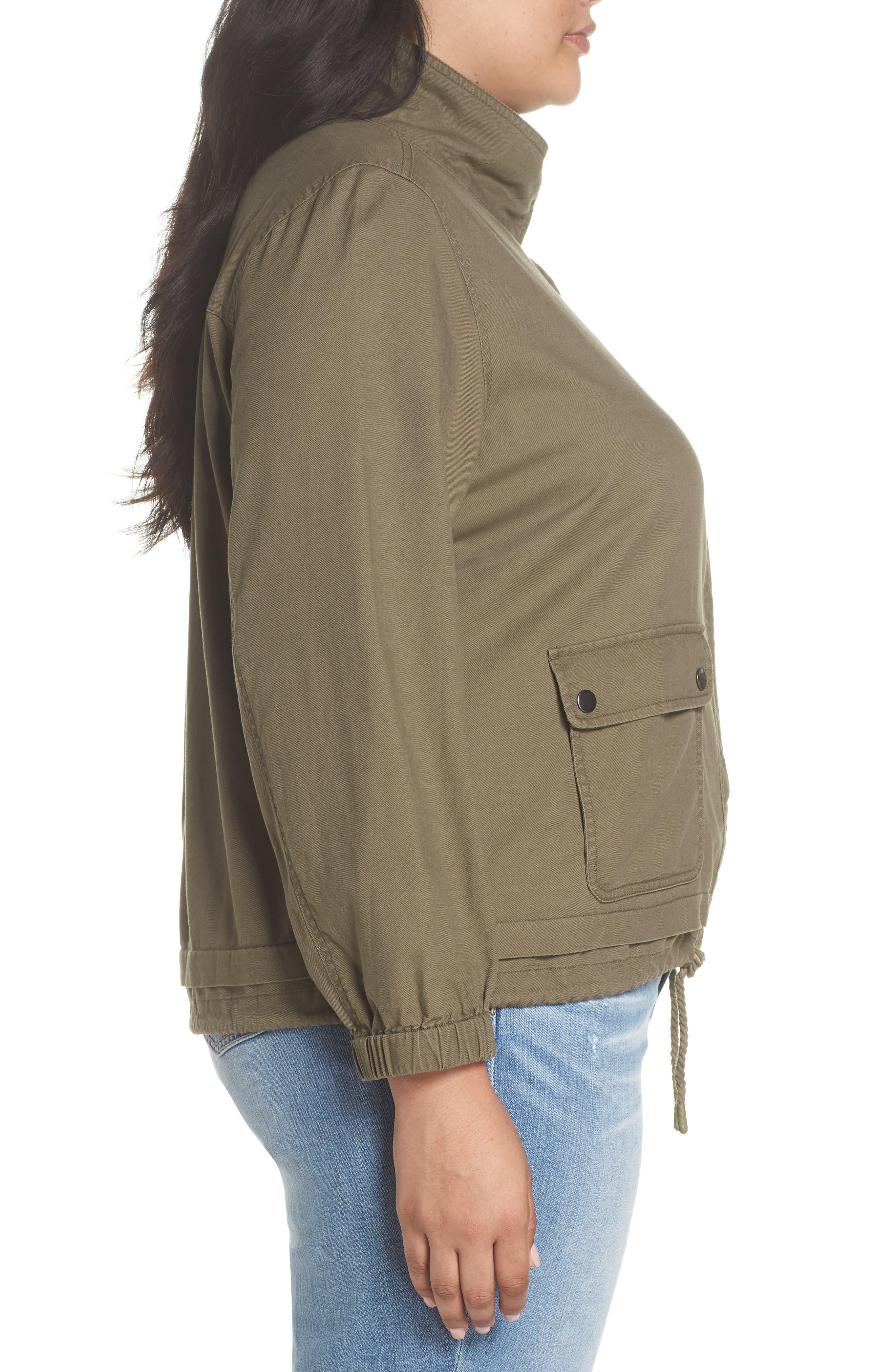 Snap Pocket Utility Jacket,                             Alternate thumbnail 3, color,                             Olive Kalamata