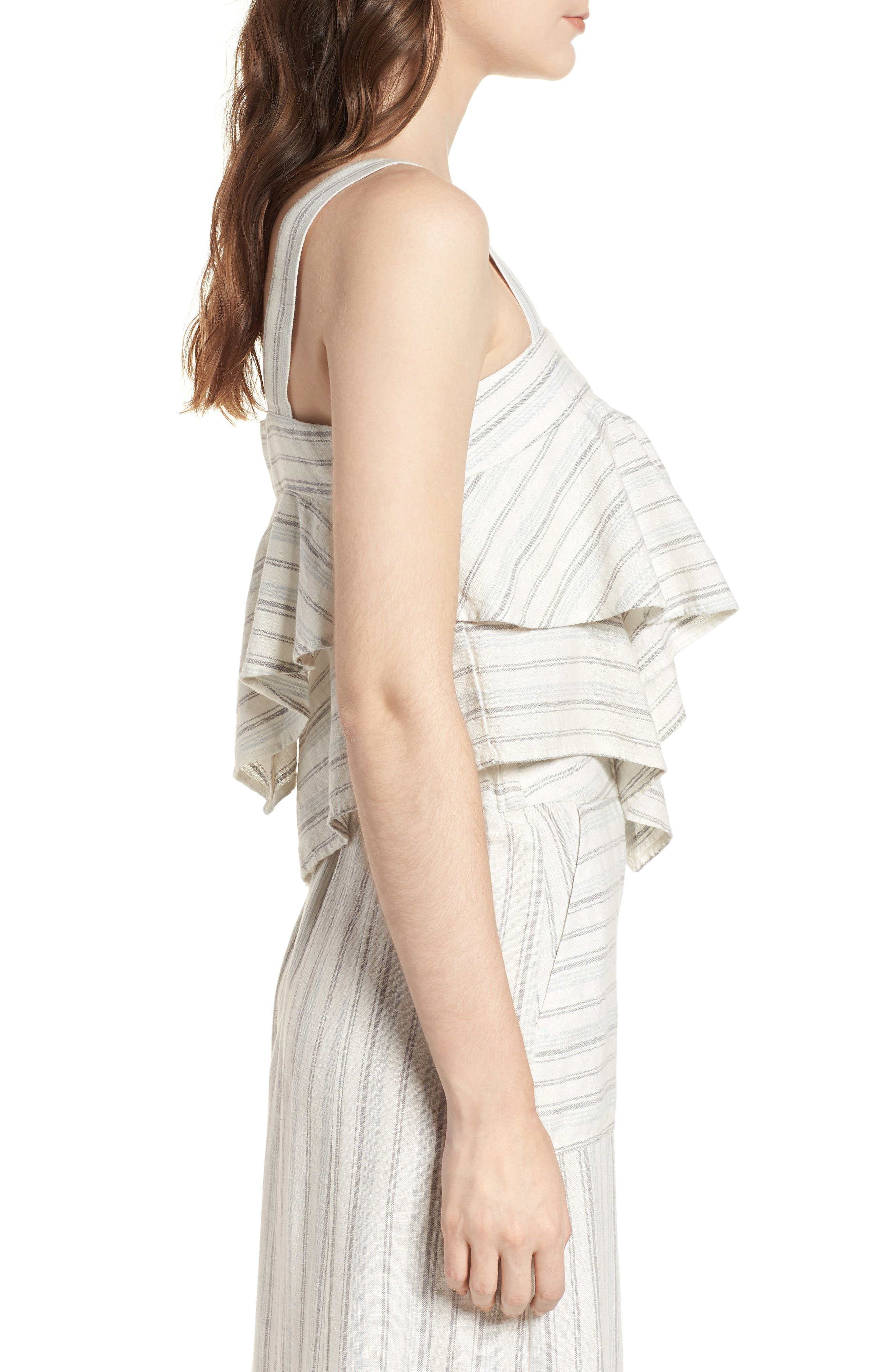 Tiered Linen Crop Top,                             Alternate thumbnail 4, color,                             Ivory Verigated Stripe