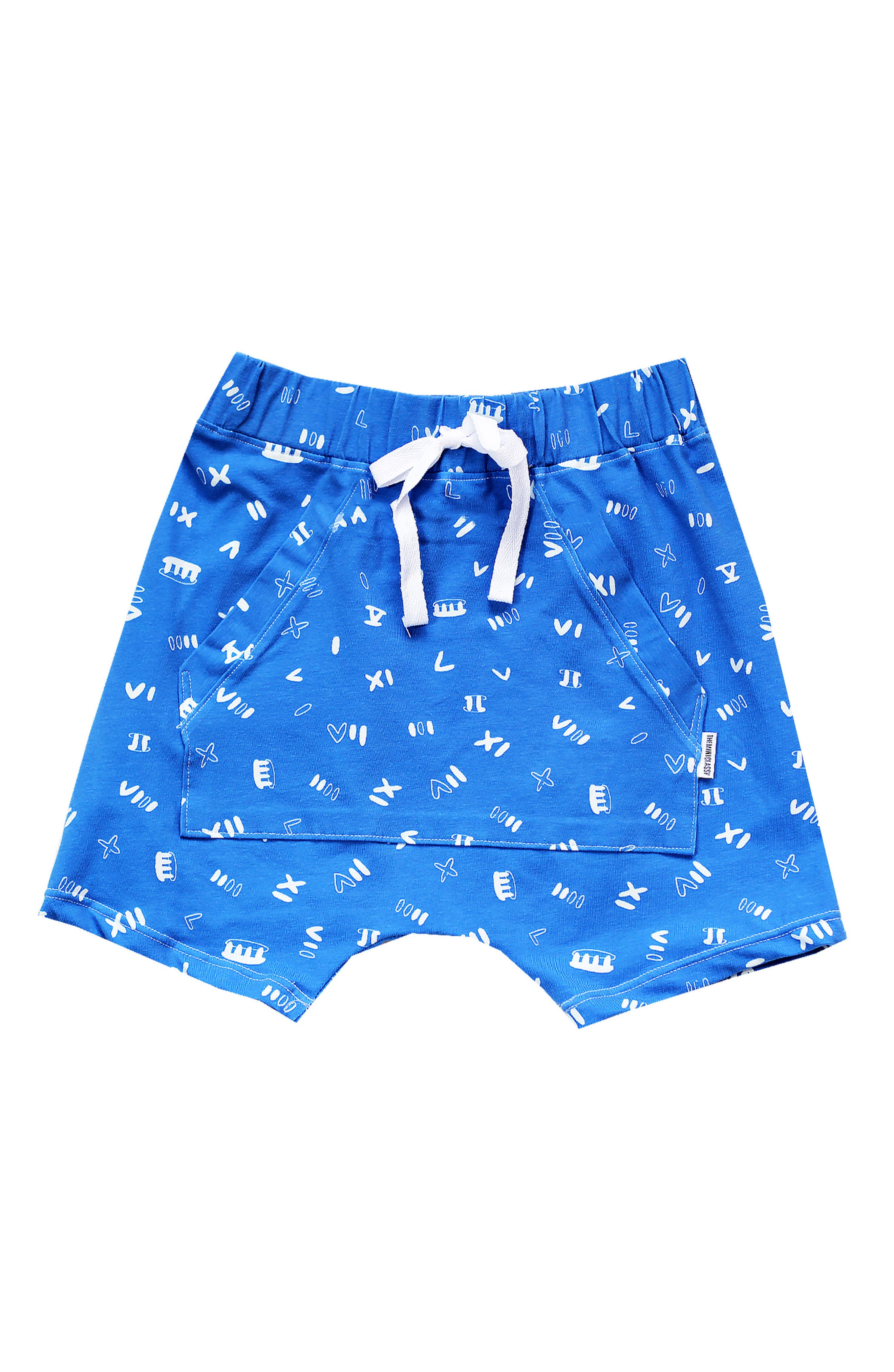 Roman Noodle Shaolin Shorts,                         Main,                         color, Blue/ White