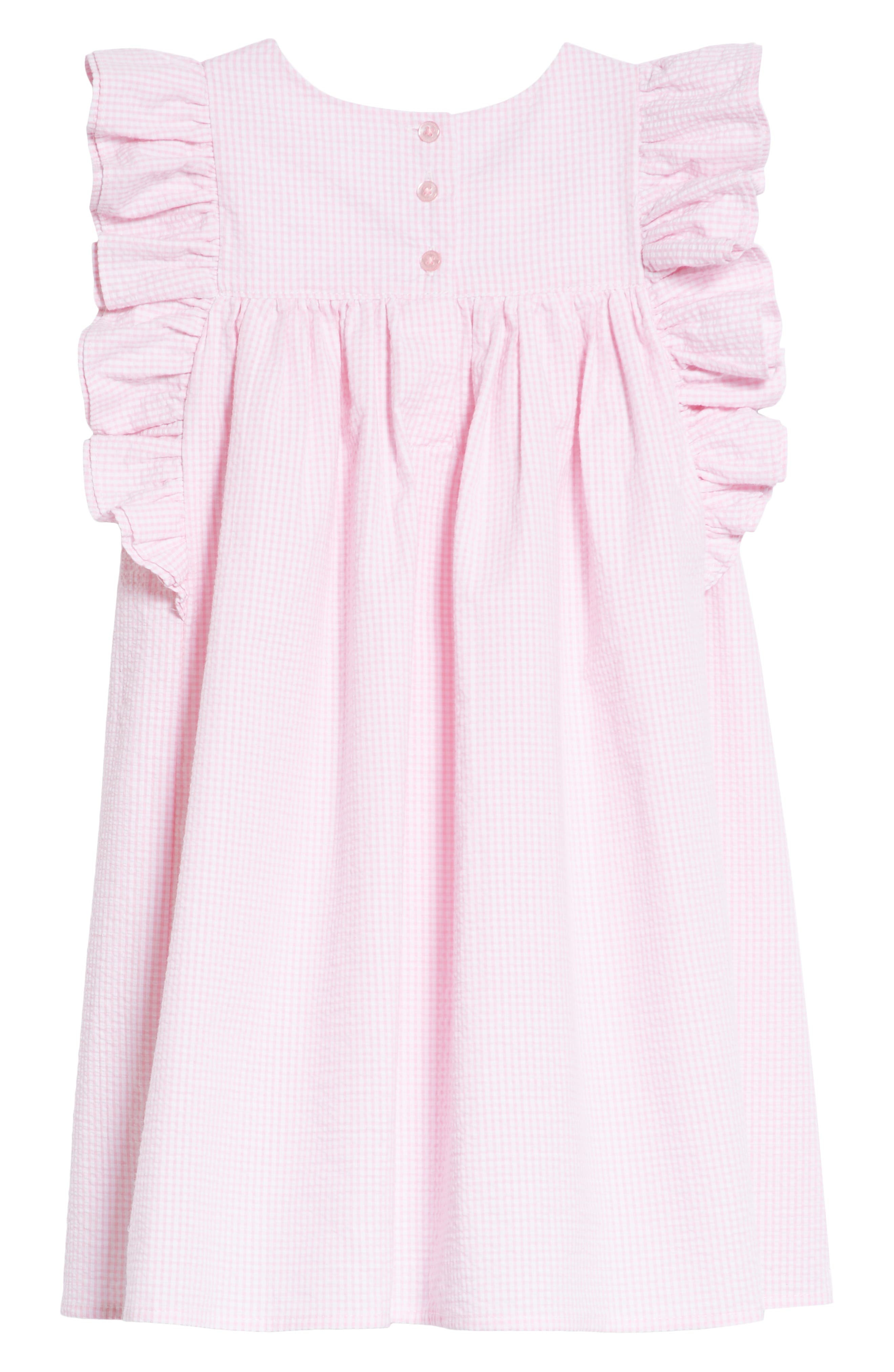 Seersucker Ruffle Sleeve Dress,                             Alternate thumbnail 2, color,                             Pink/ White