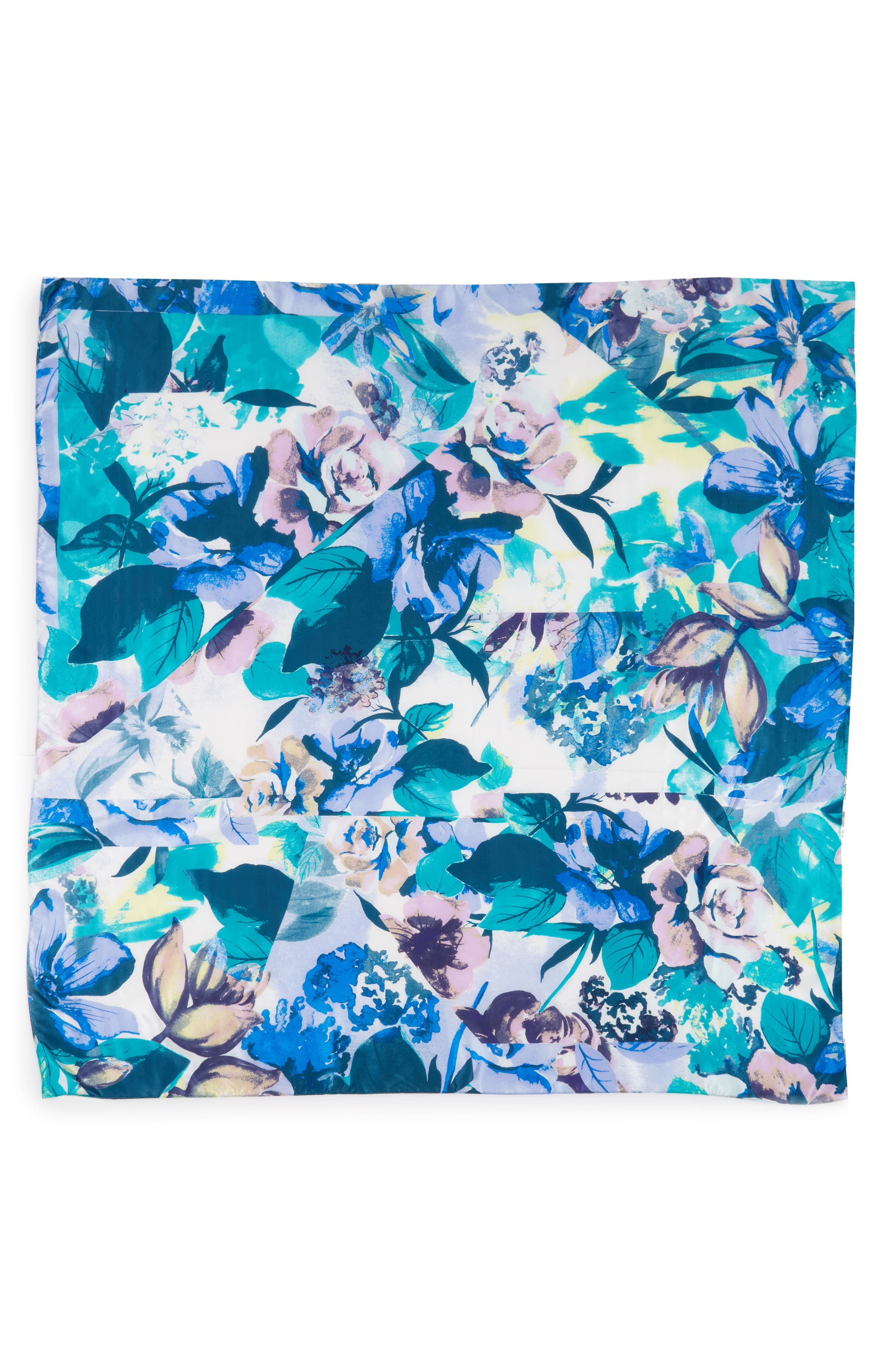Print Silk Square Scarf,                             Alternate thumbnail 3, color,                             Teal Mirror Floral