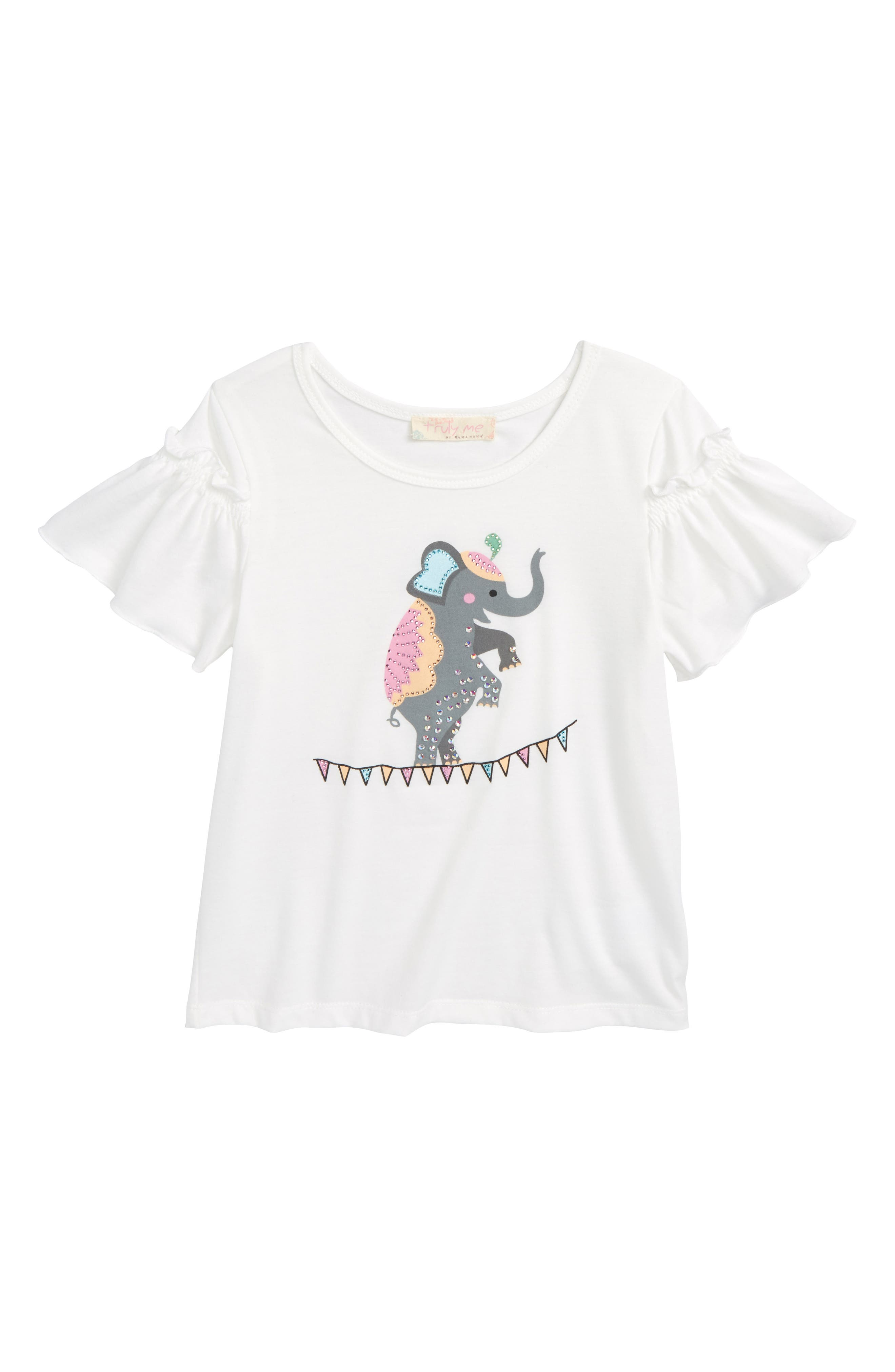 Embellished Elephant Graphic Tee,                         Main,                         color, White