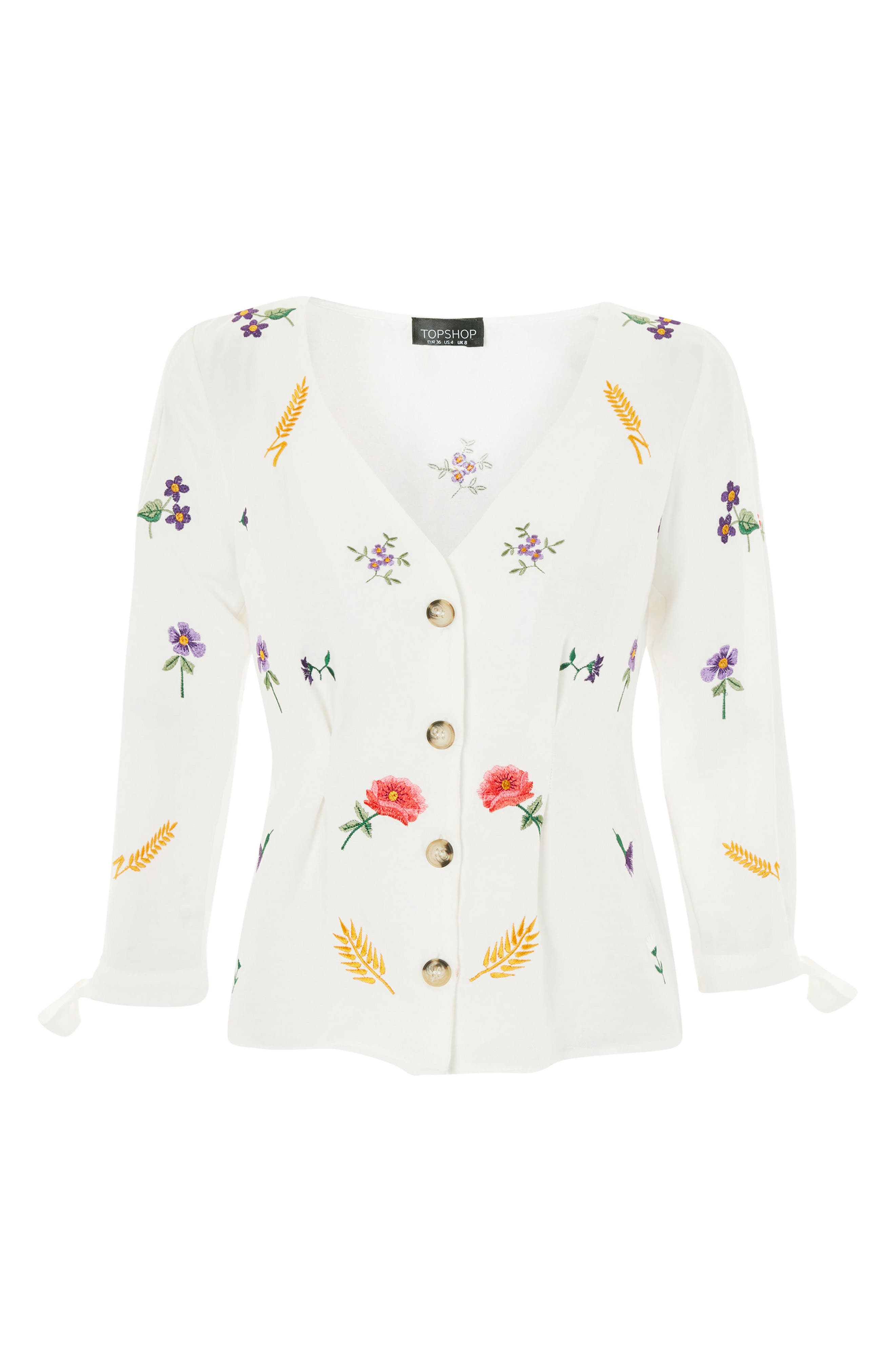 Field Embroidered Floral Blouse,                             Alternate thumbnail 4, color,                             Ivory