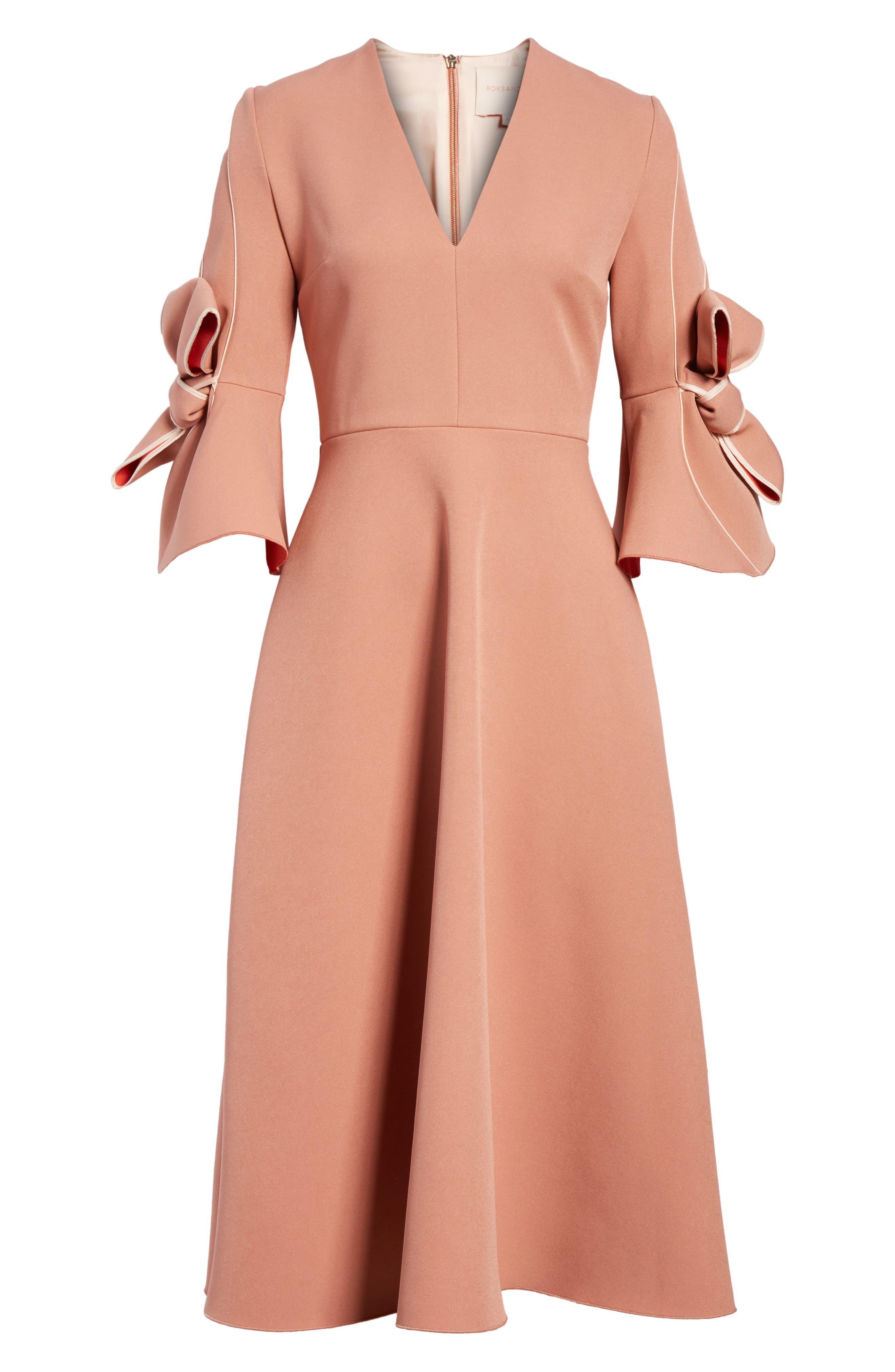 Sibella Bow Trim Dress,                             Alternate thumbnail 6, color,                             Putty