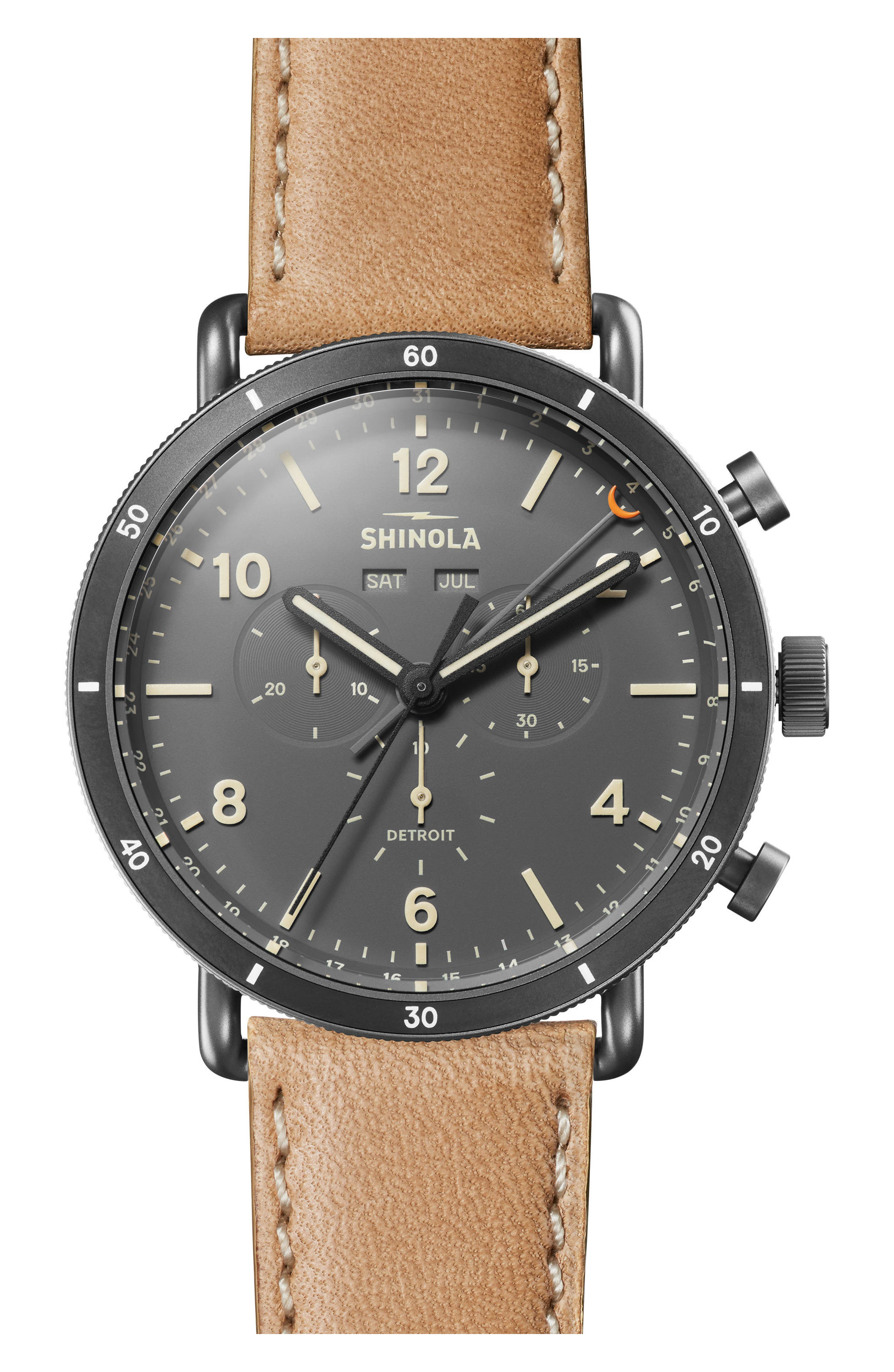 The Canfield Chrono Leather Strap Watch, 45mm,                             Main thumbnail 1, color,                             Natural/ Grey/ Gunmetal
