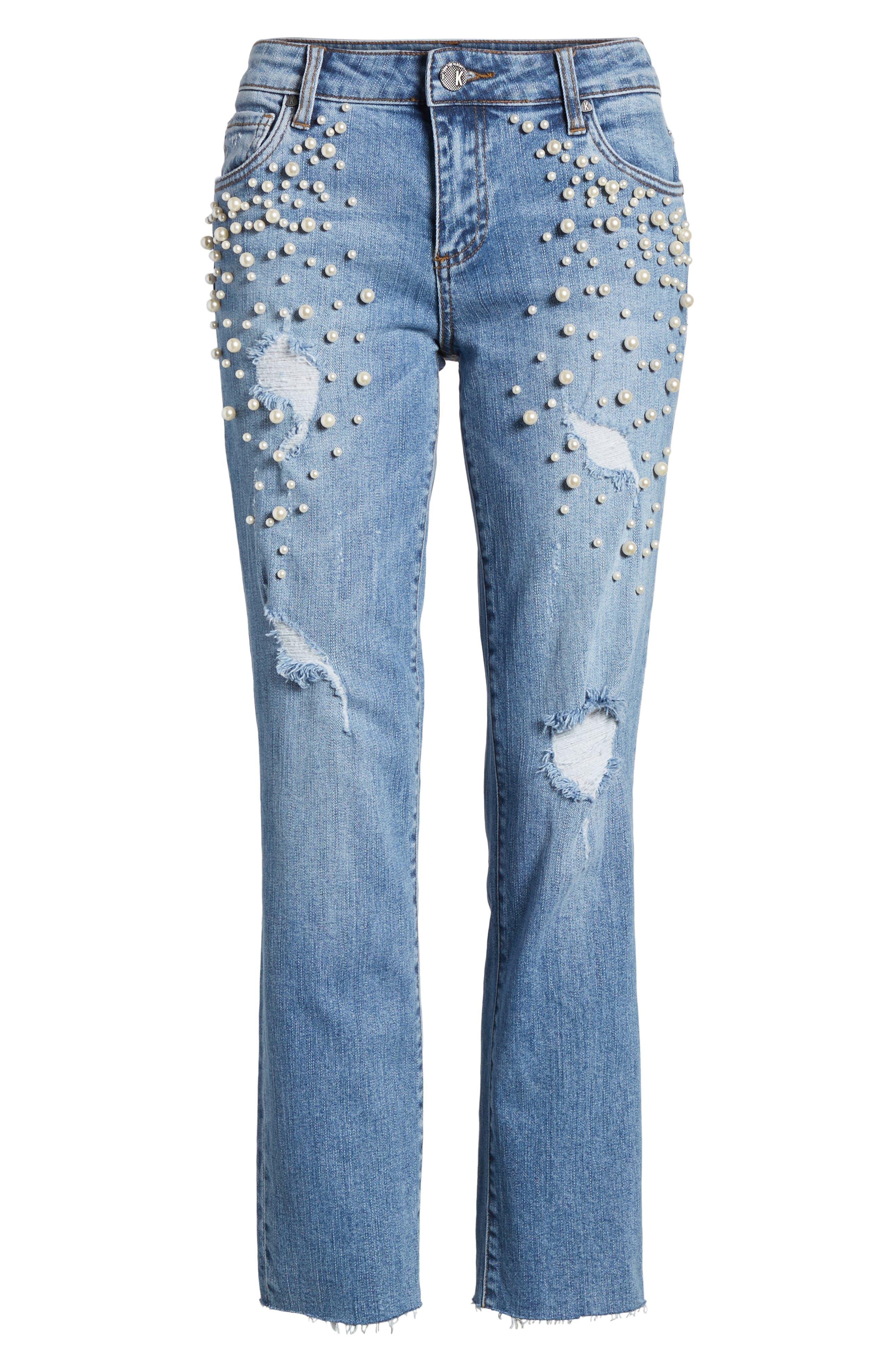 Reese Pearl Detail Raw Edge Jeans,                             Alternate thumbnail 6, color,                             Assess W/ Medium Base Wash