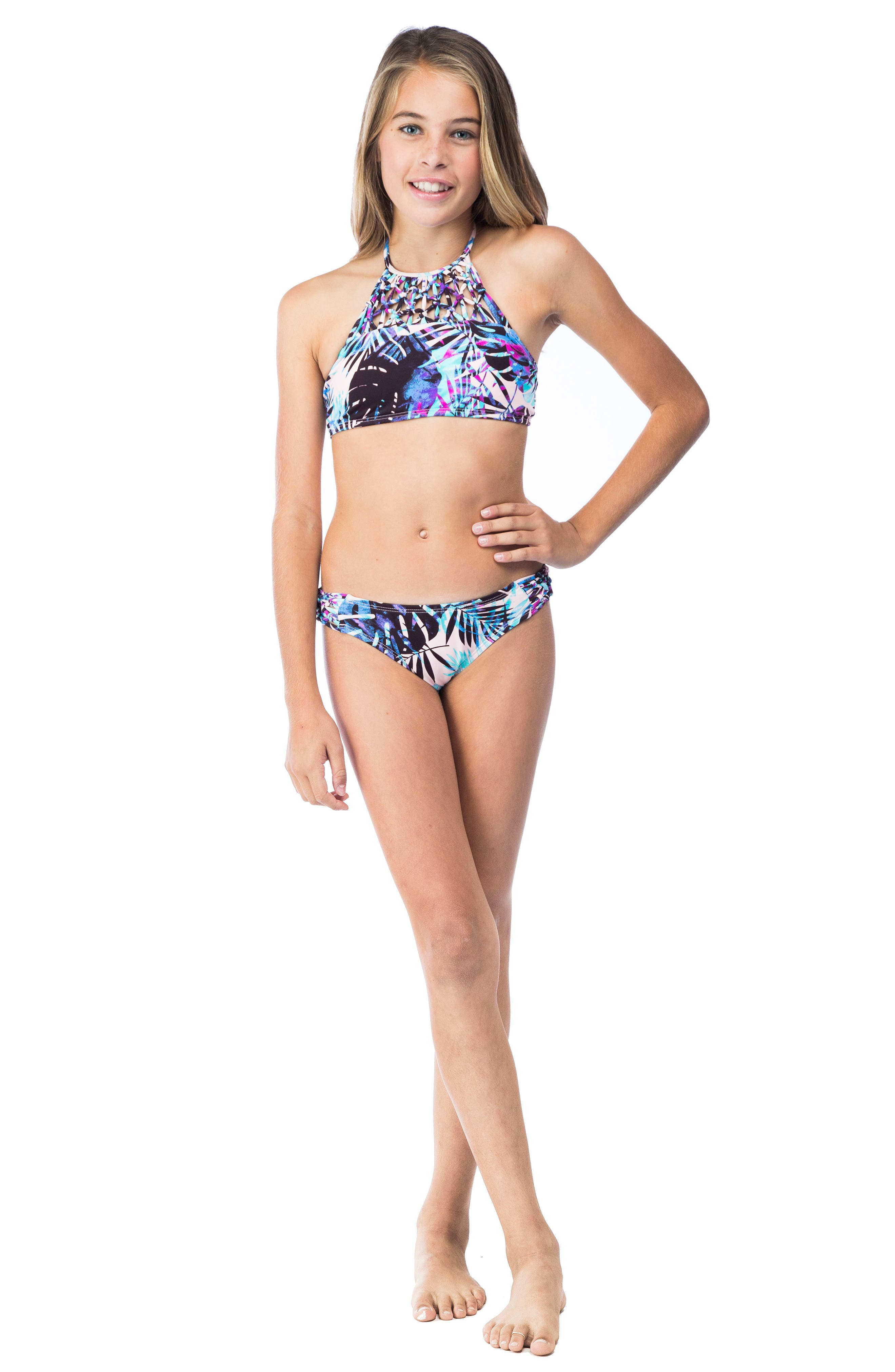 Take It Or Leaf It Two-Piece Swimsuit,                             Alternate thumbnail 3, color,                             Pop Pink