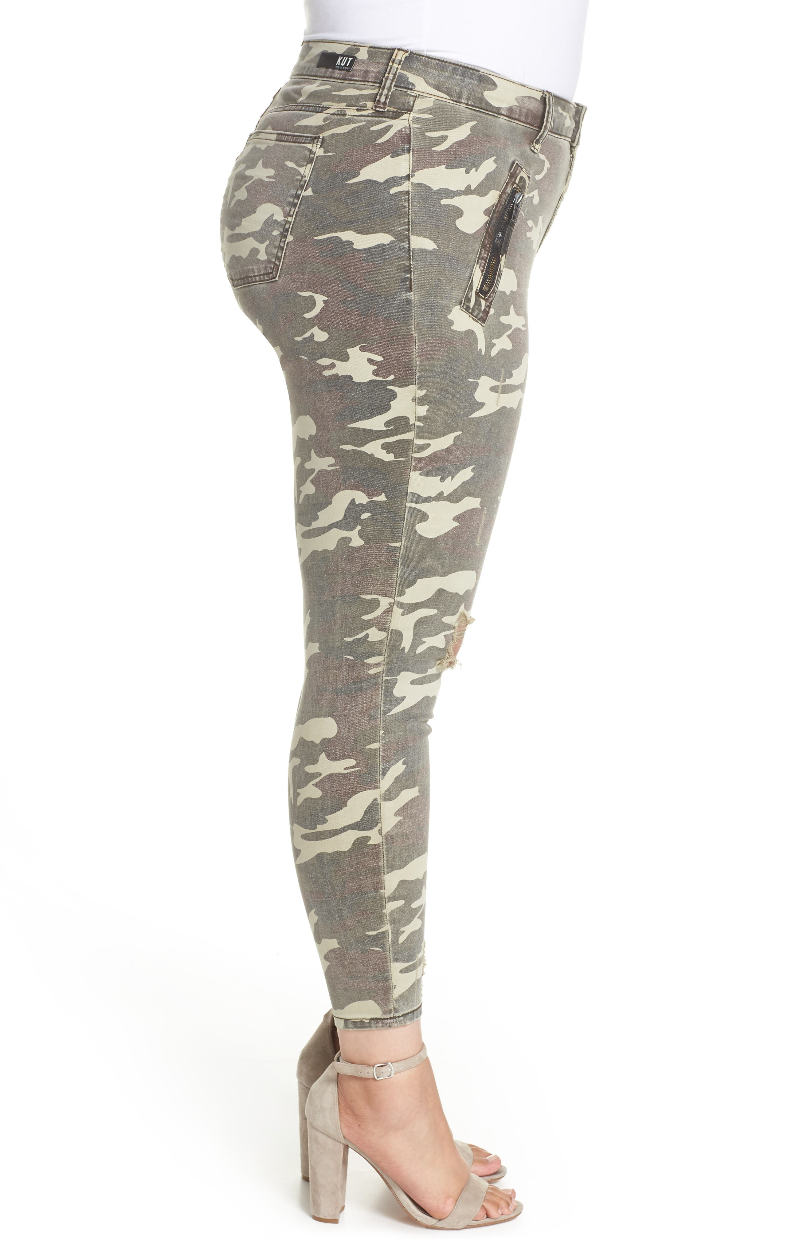 Connie High Waist Ankle Skinny Jeans,                             Alternate thumbnail 3, color,                             Olive