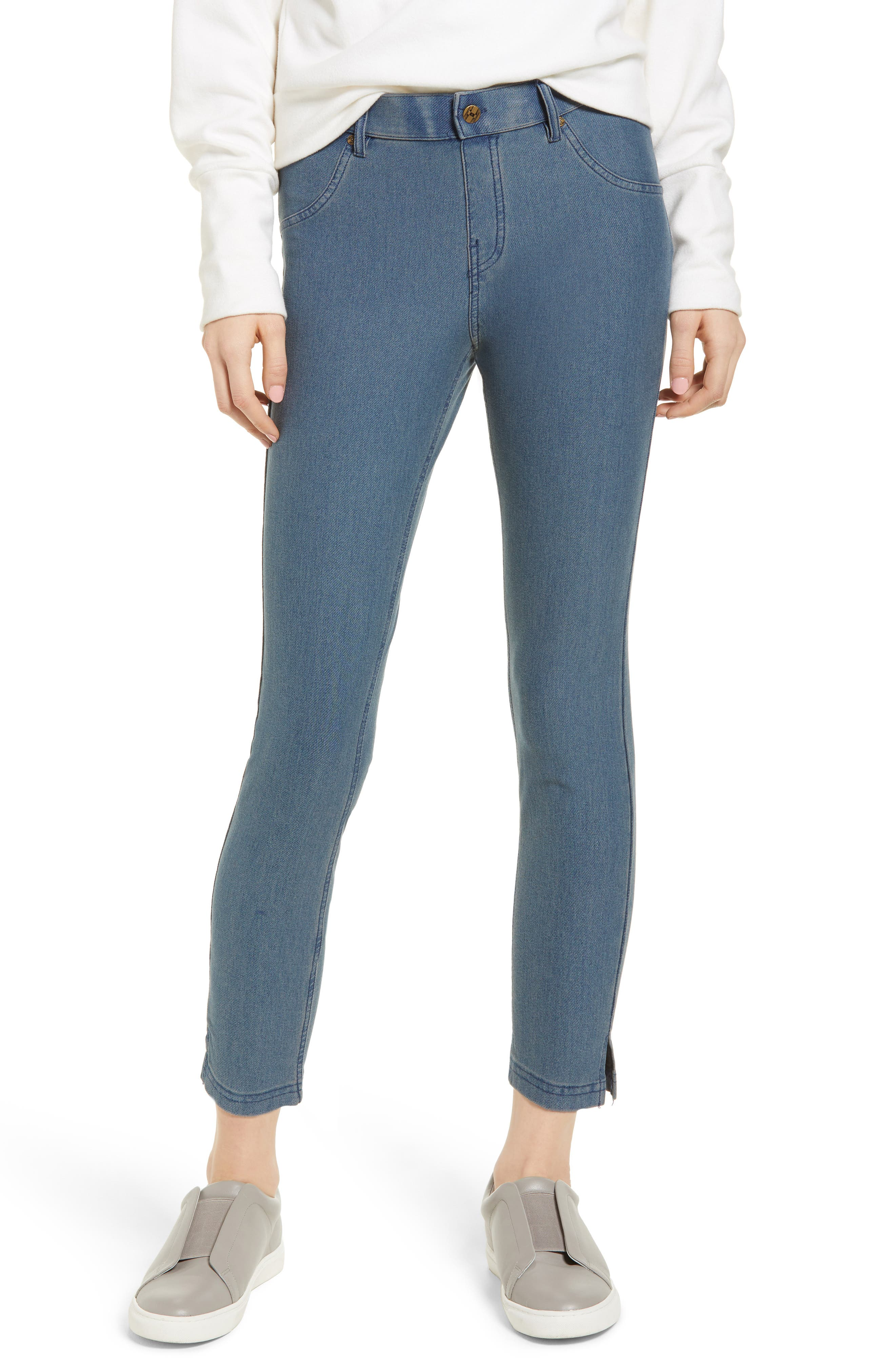 Hue Split Hem Denim Leggings