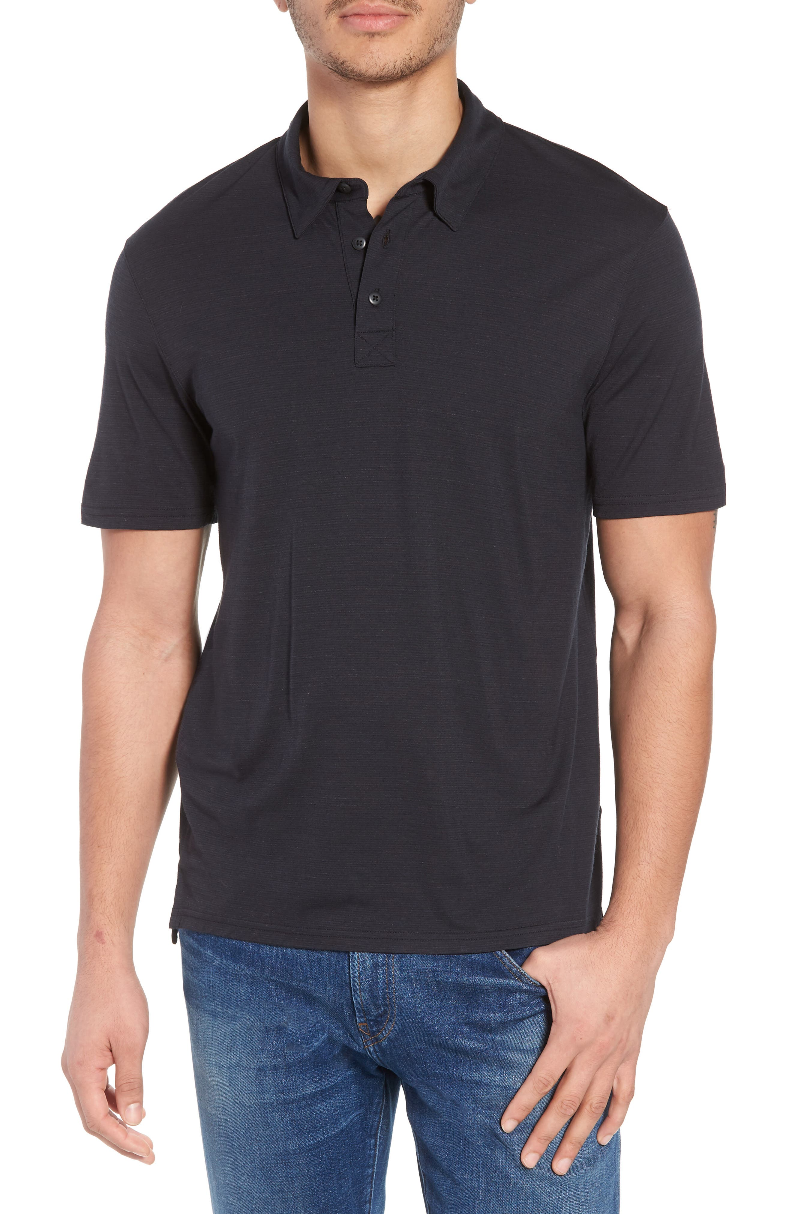 Merino 150 Wool Blend Polo Shirt,                         Main,                         color, Charcoal