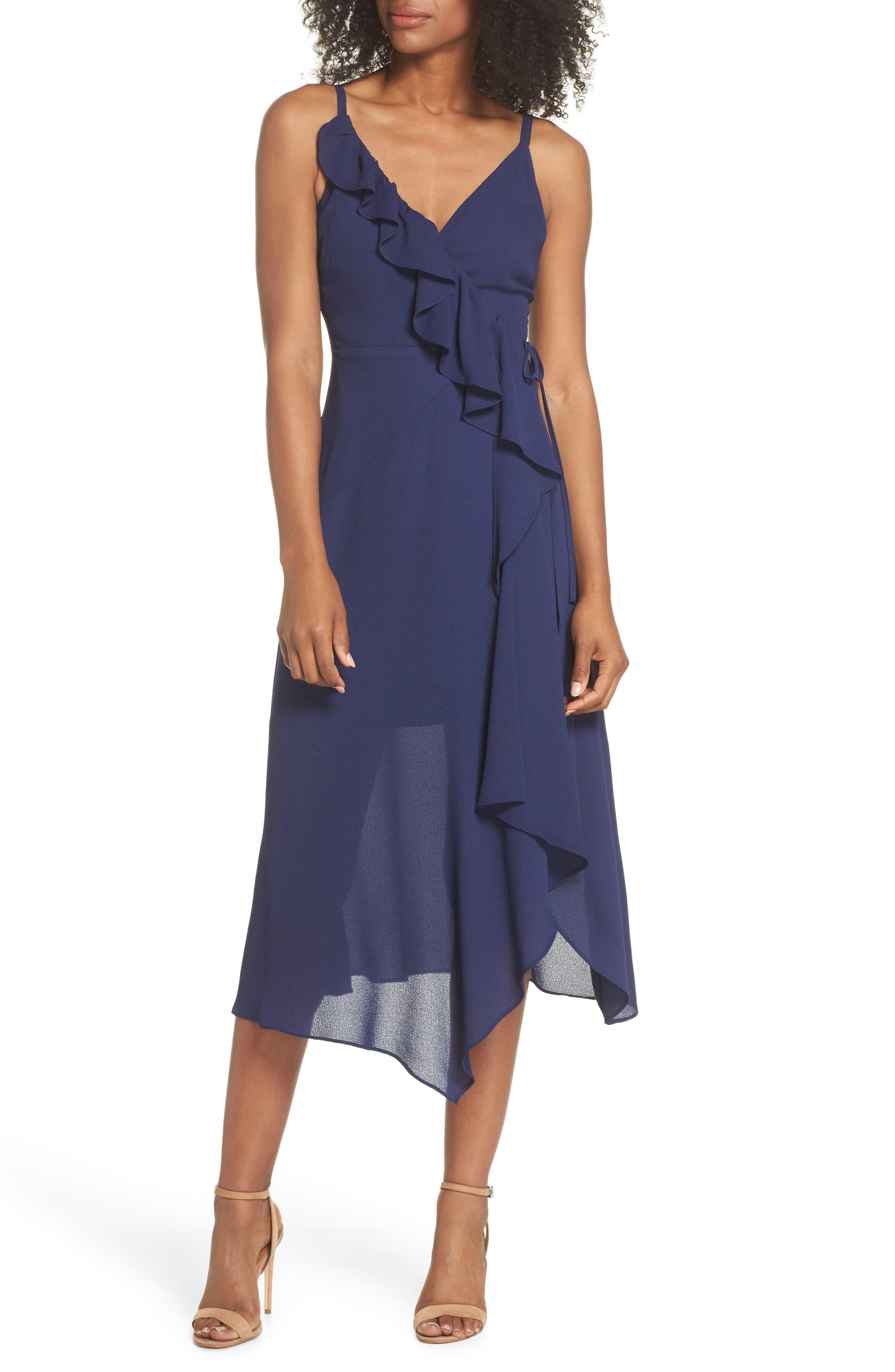 Georgette Faux Wrap Dress,                         Main,                         color, Navy