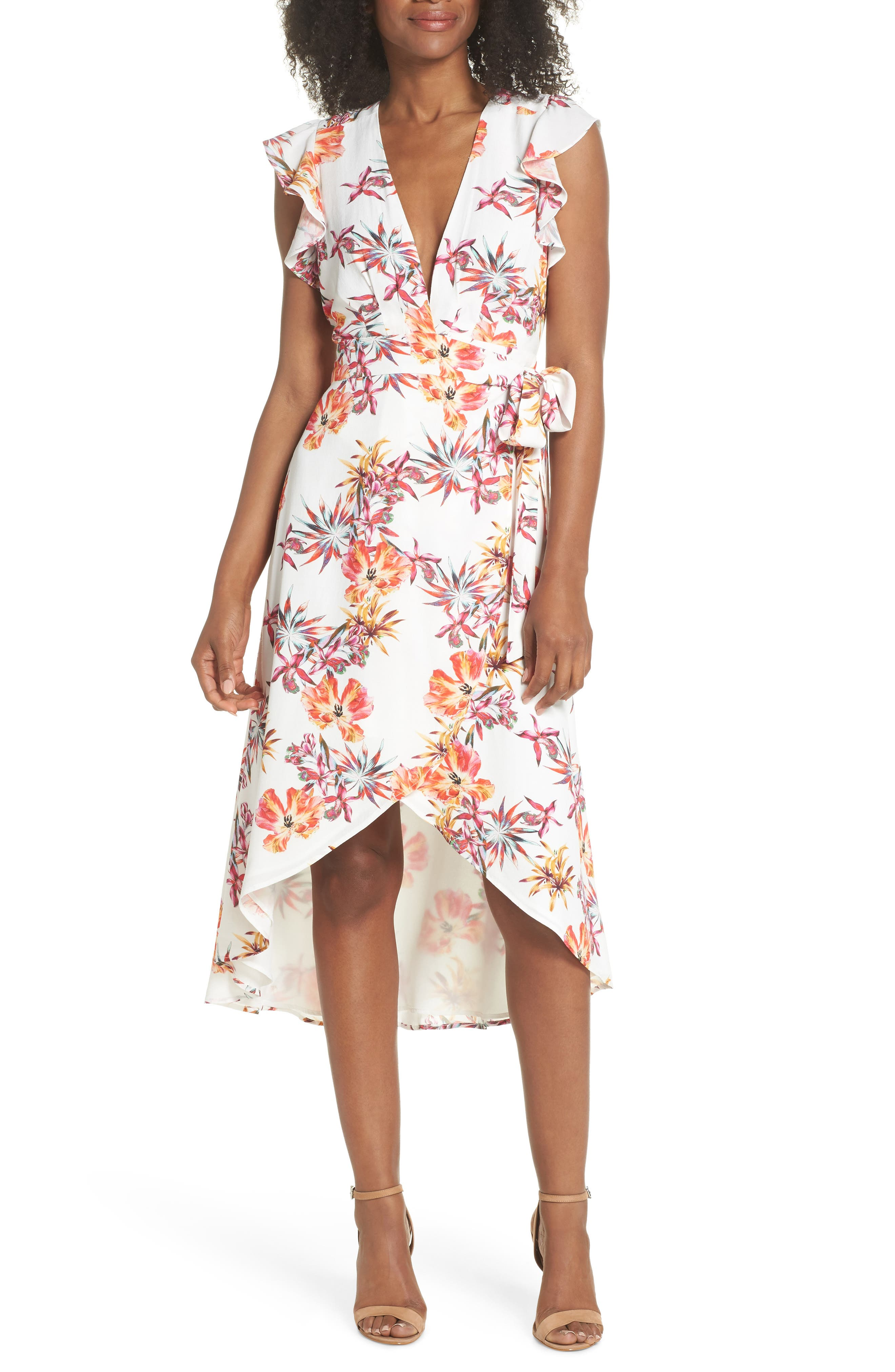 Eloise High/Low Wrap Dress,                         Main,                         color, Off White/ Red