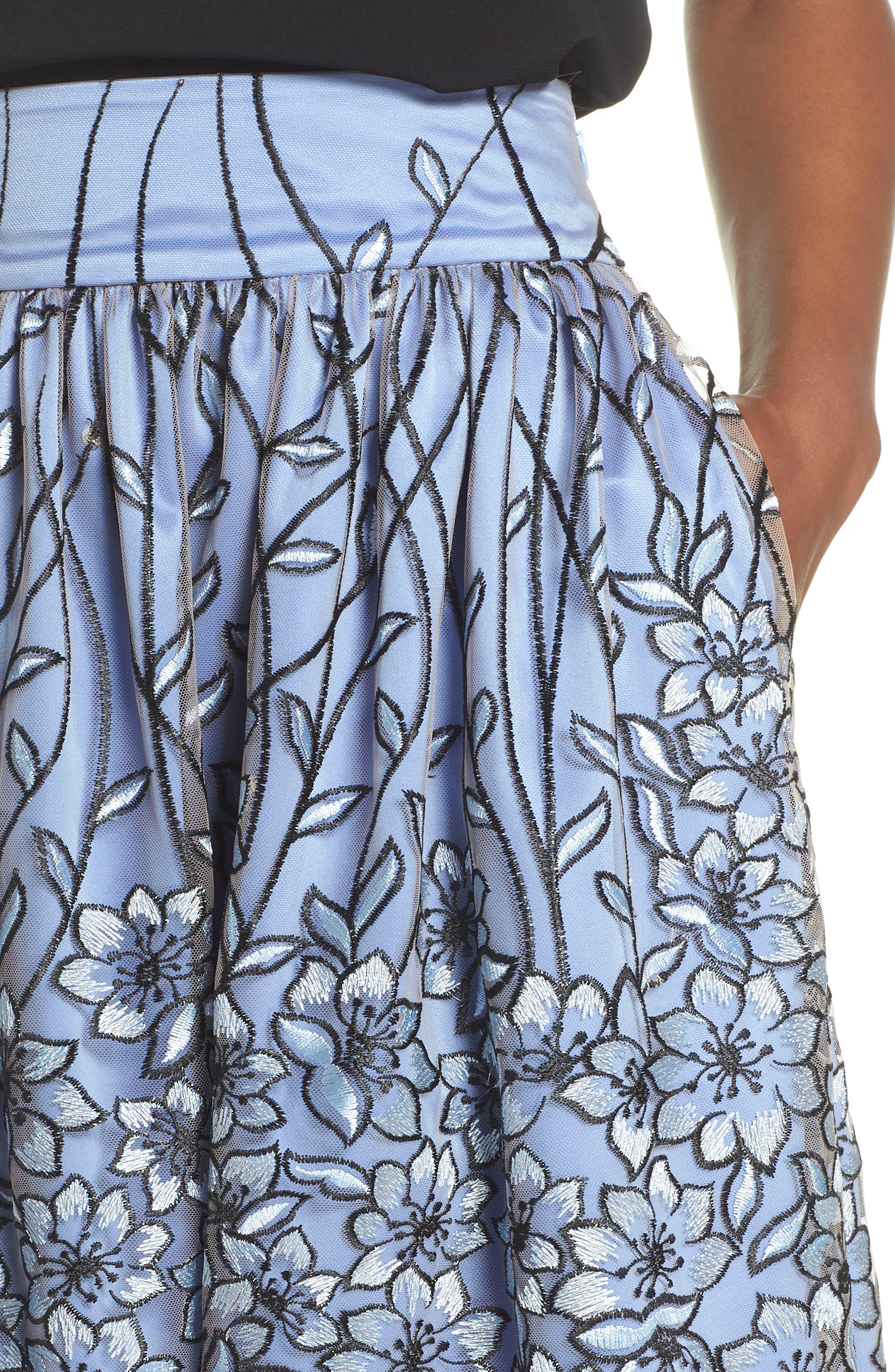 Embroidered A-Line SKirt,                             Alternate thumbnail 4, color,                             Blue Black