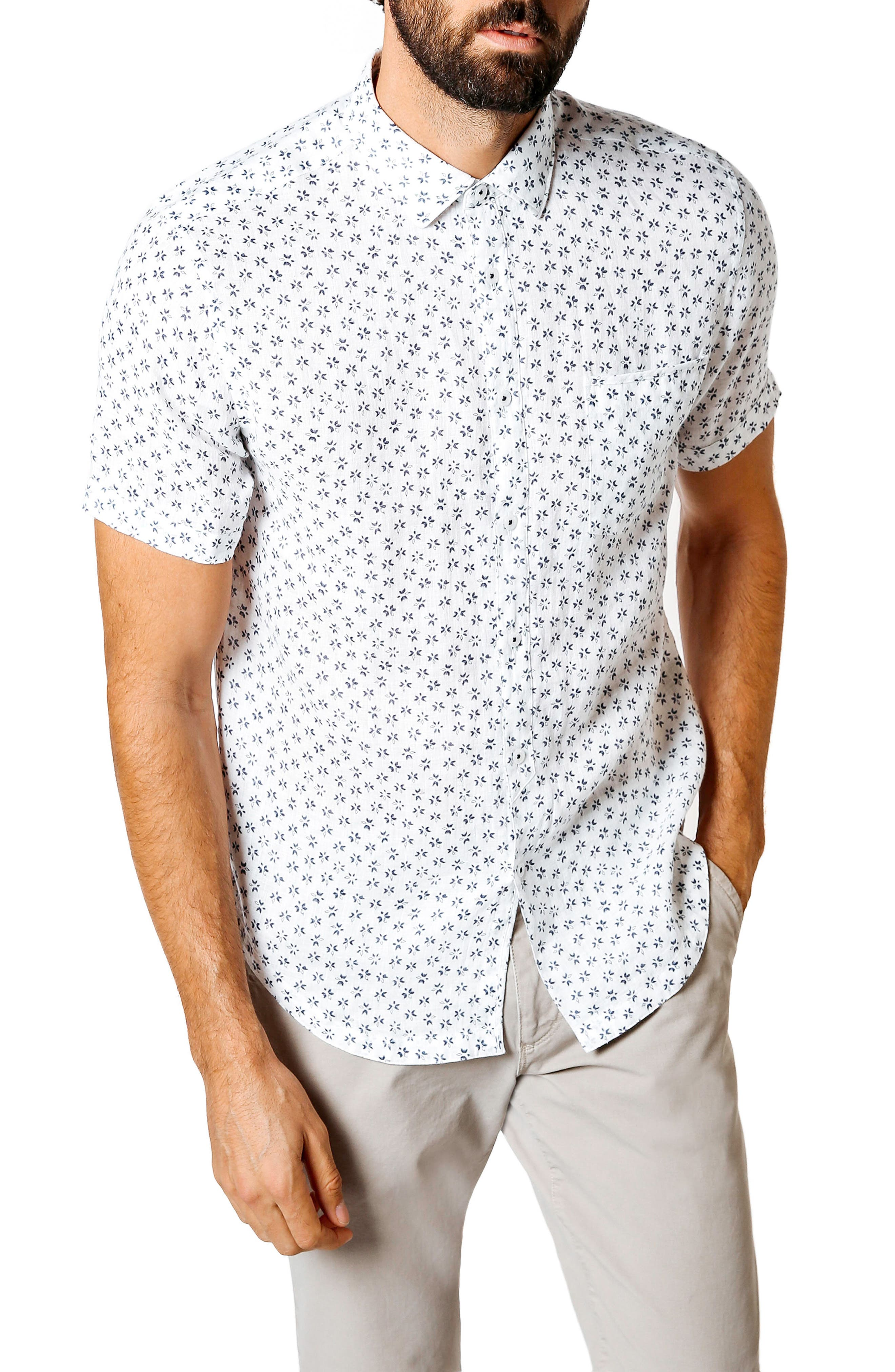 Trim Fit Tea Leaf Print Shirt,                             Main thumbnail 1, color,                             White