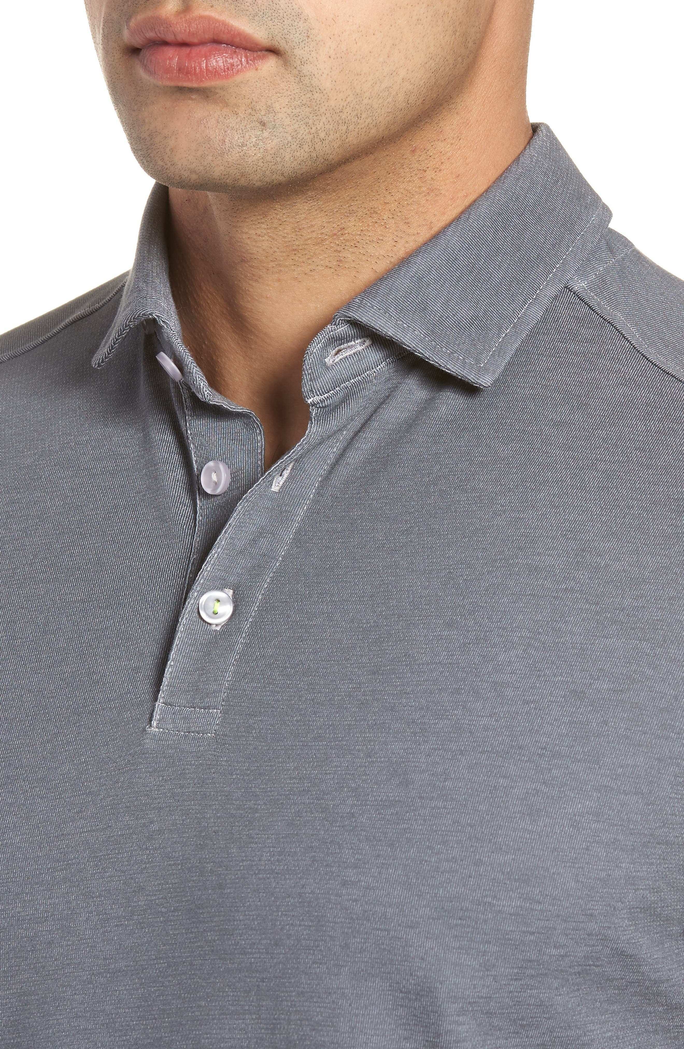 Knit Polo,                             Alternate thumbnail 4, color,                             Grey